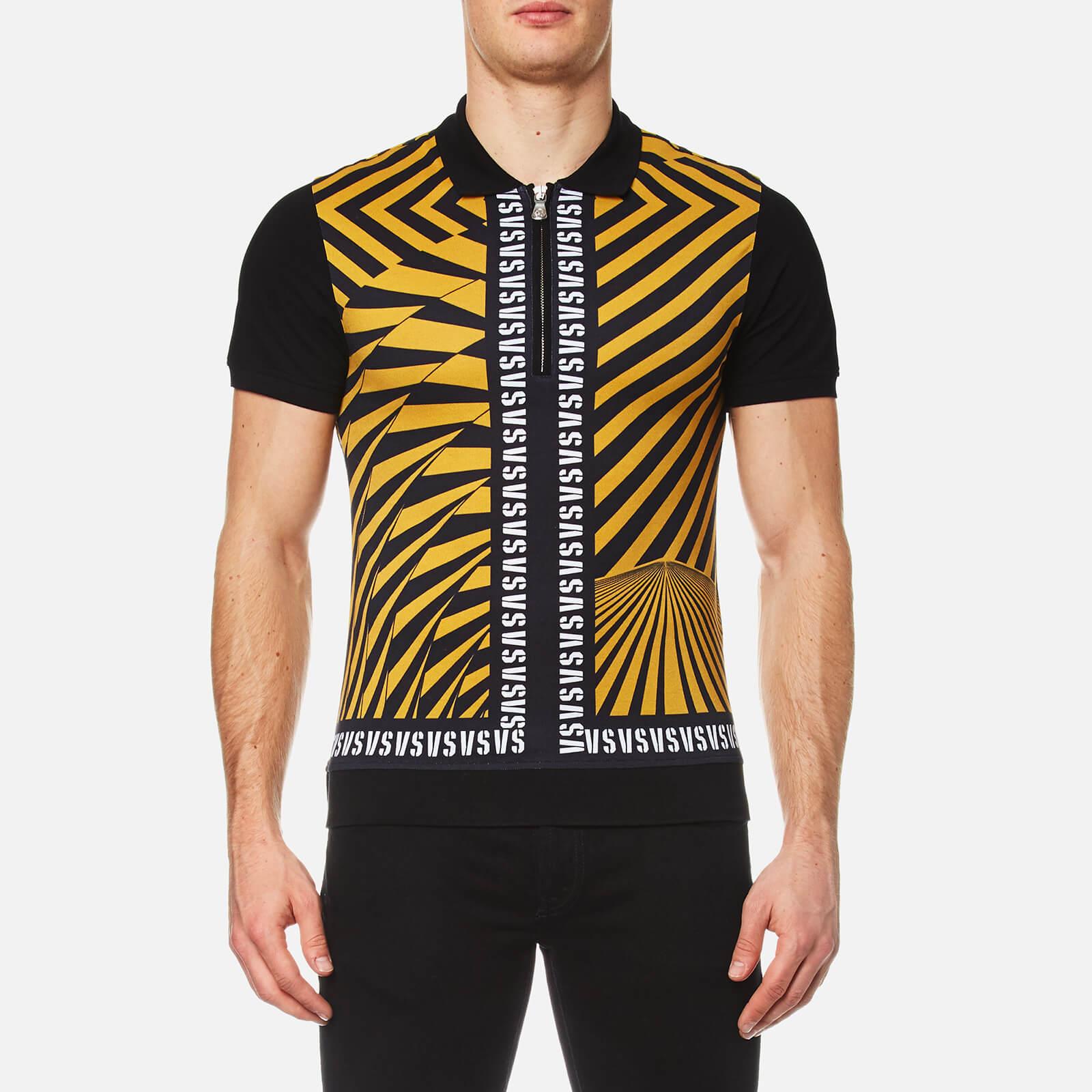 d81b930b Versus Versace Men's All Over Printed Polo Shirt - Yellow/Black