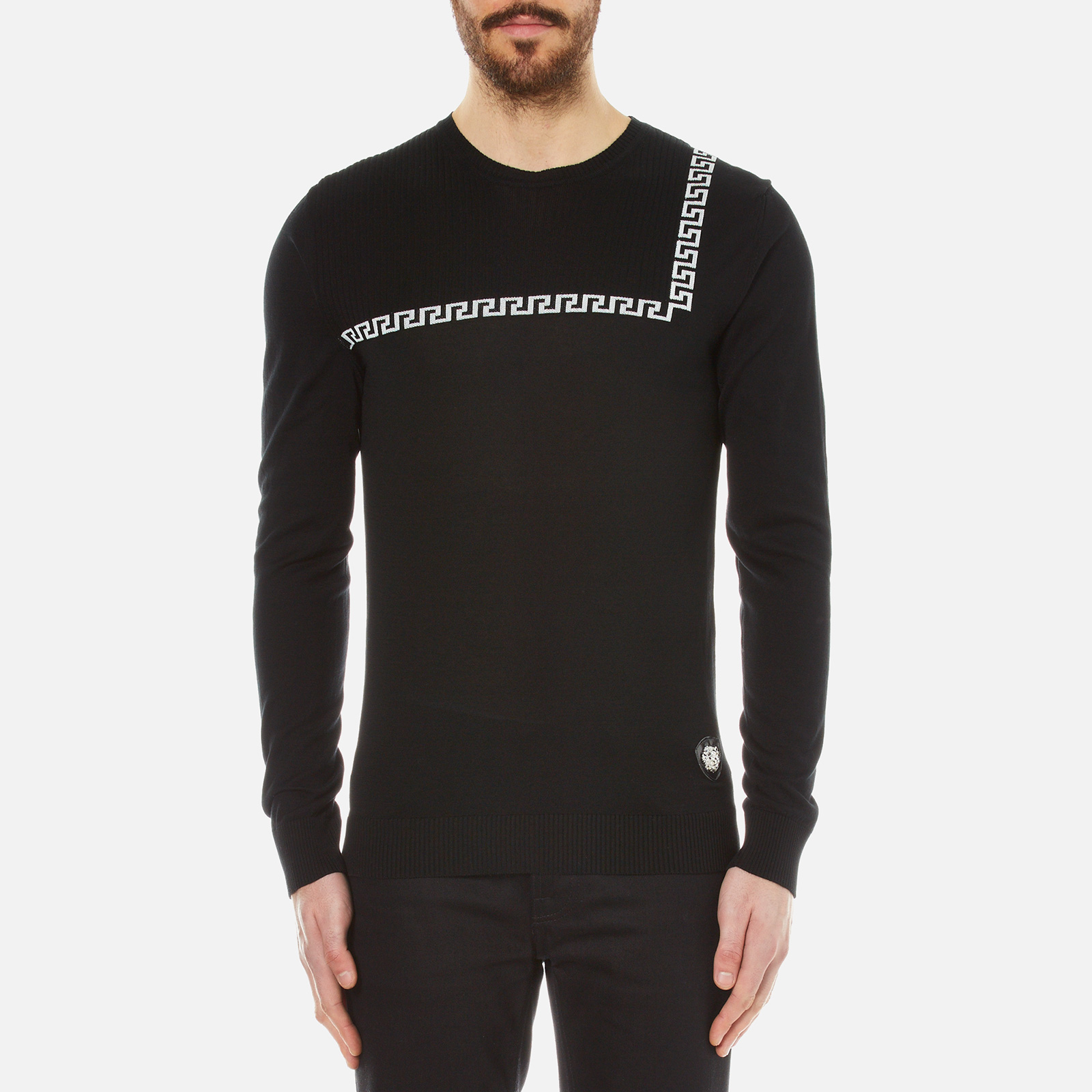 db8240b3a4c1ba Versus Versace Men's Crew Neck Jumper with Baroque Print Detail - Black -  Free UK Delivery over £50