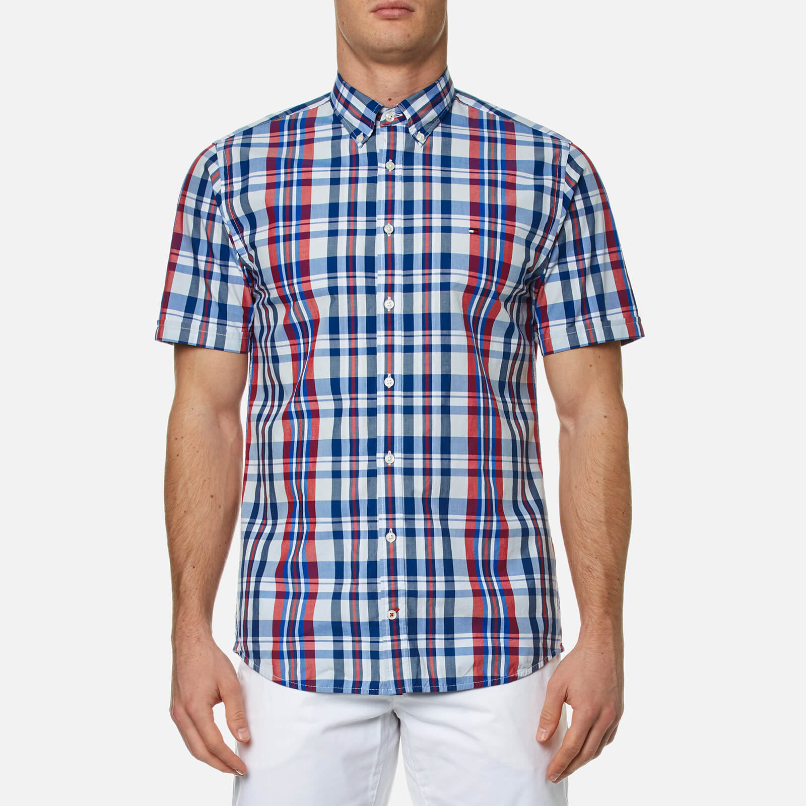 d1432617 Tommy Hilfiger Men's Lester Check Short Sleeve Shirt - Blue/Apple Red - Free  UK Delivery over £50