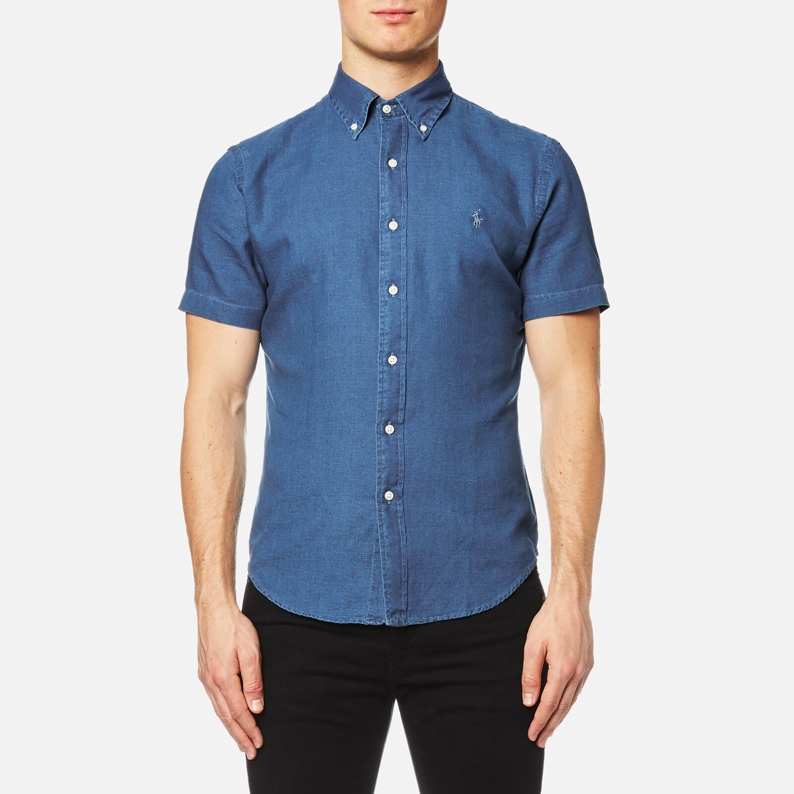 d40d14ecb44f Polo Ralph Lauren Men s Short Sleeve Slim Fit Oxford Shirt - Denim Washed  Blue - Free UK Delivery over £50