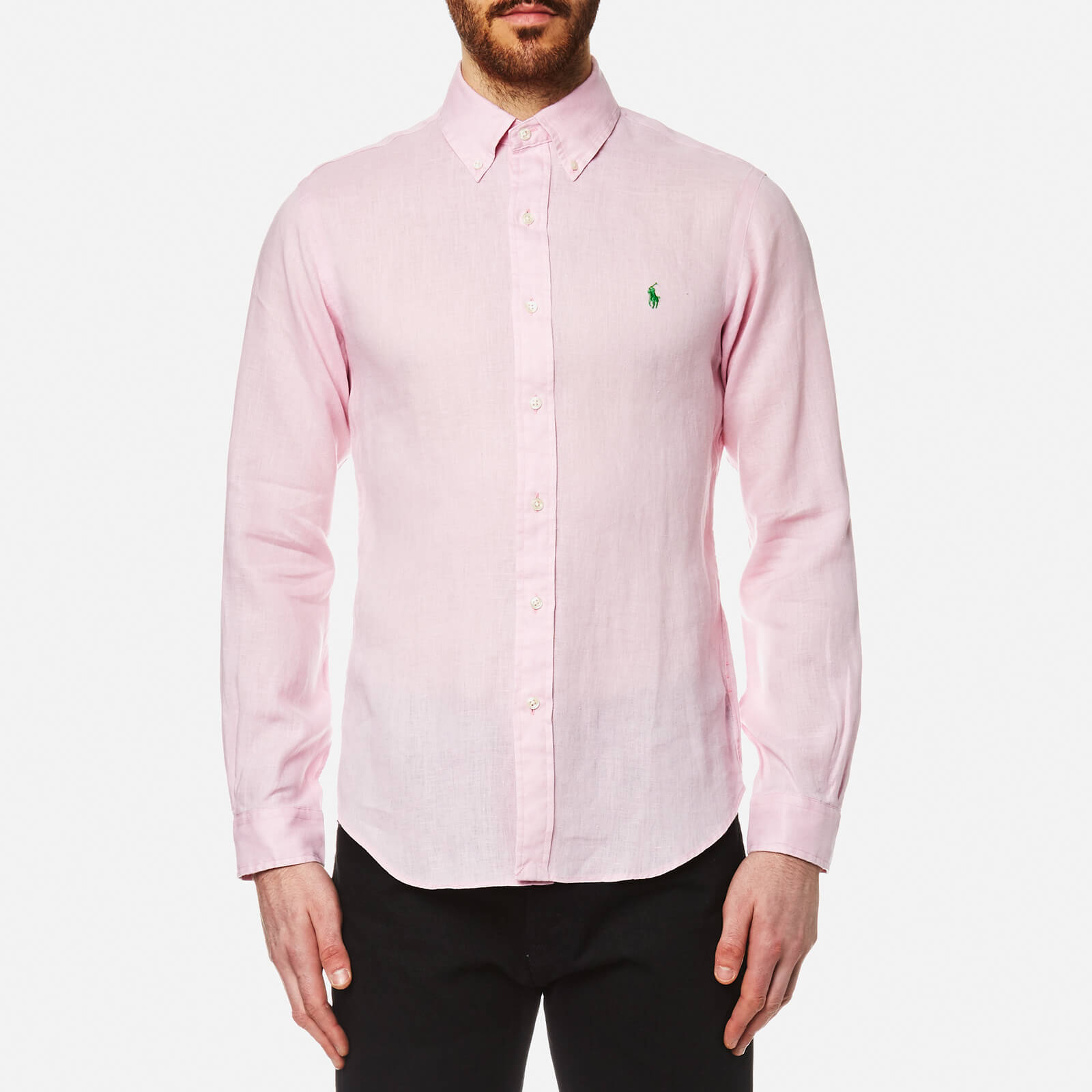 837ebd39e Polo Ralph Lauren Men's Linen Long Sleeve Slim Fit Shirt - Pink - Free UK  Delivery over £50