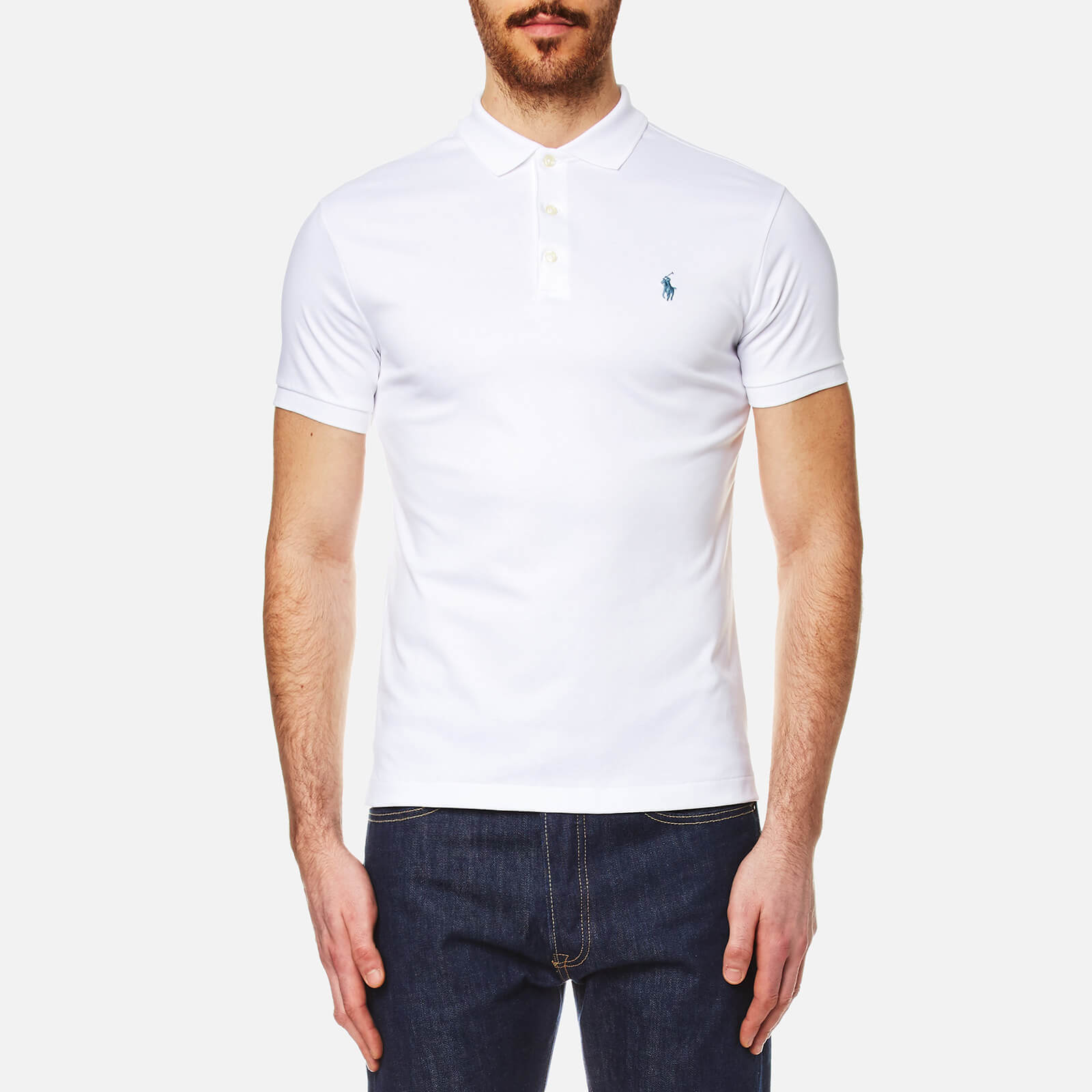 887f5b60 Polo Ralph Lauren Men's Pima Cotton Slim Fit Polo Shirt - White - Free UK  Delivery over £50