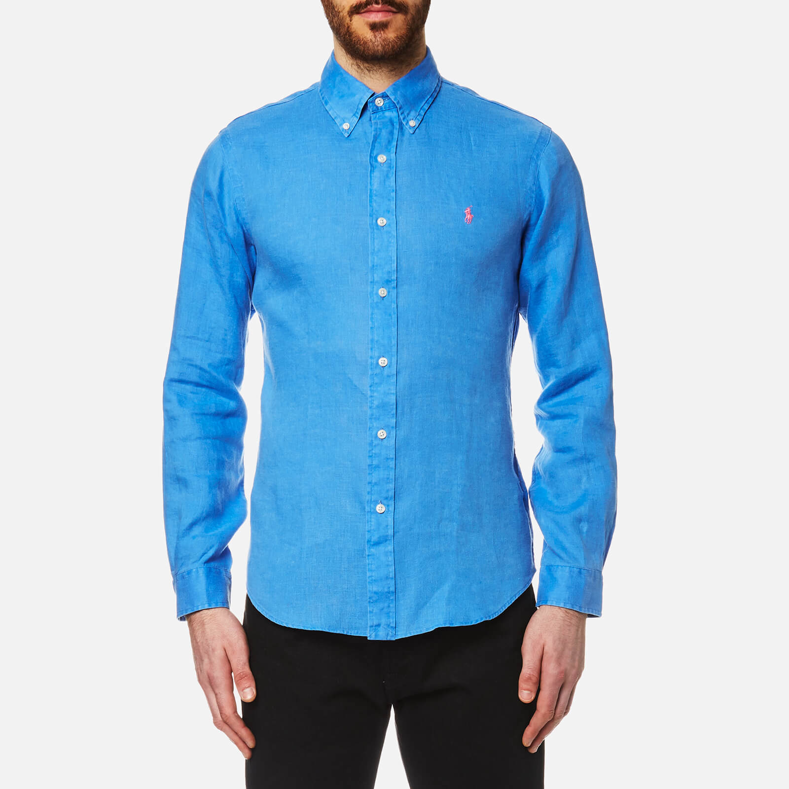 0e828179 Polo Ralph Lauren Men's Linen Long Sleeve Slim Fit Shirt - Blue - Free UK  Delivery over £50