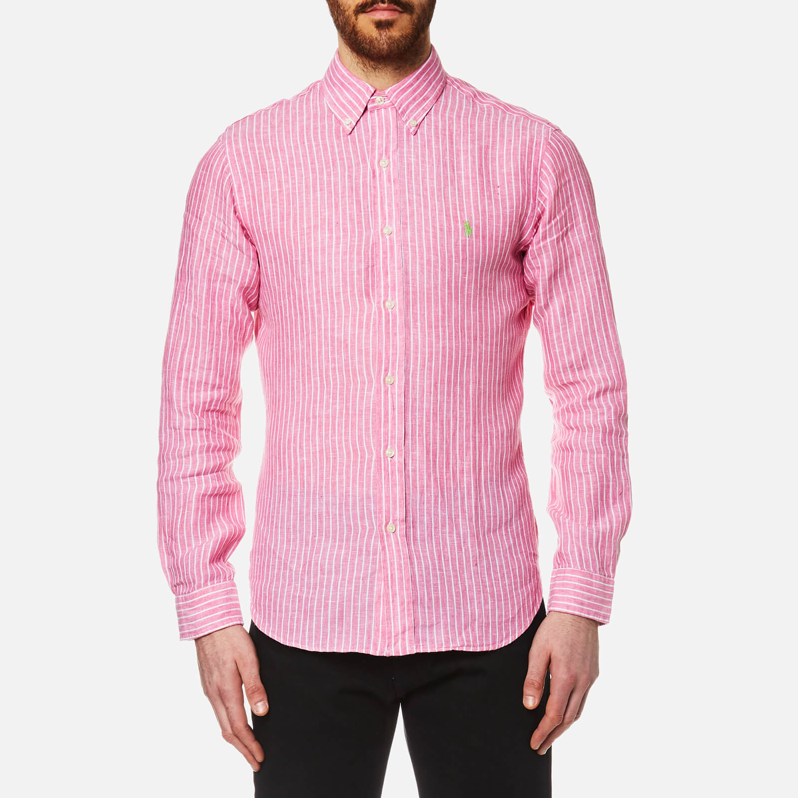 a9591f263 Polo Ralph Lauren Men's Stripe Slim Fit Long Sleeve Linen Shirt - Pink - Free  UK Delivery over £50
