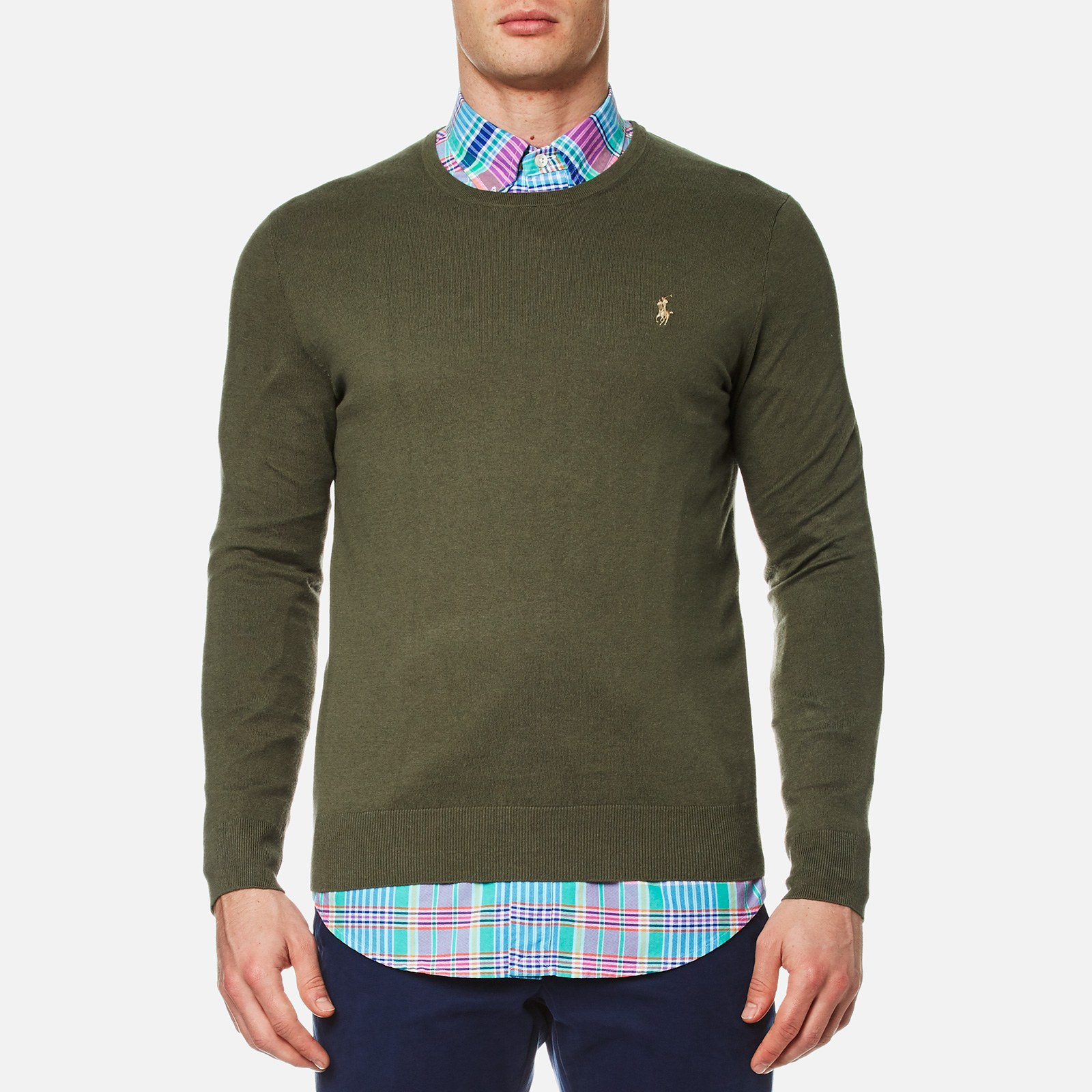 ffc6cc19a Polo Ralph Lauren Men's Crew Neck Cotton Blend Knit Jumper - Moss Bark -  Free UK Delivery over £50