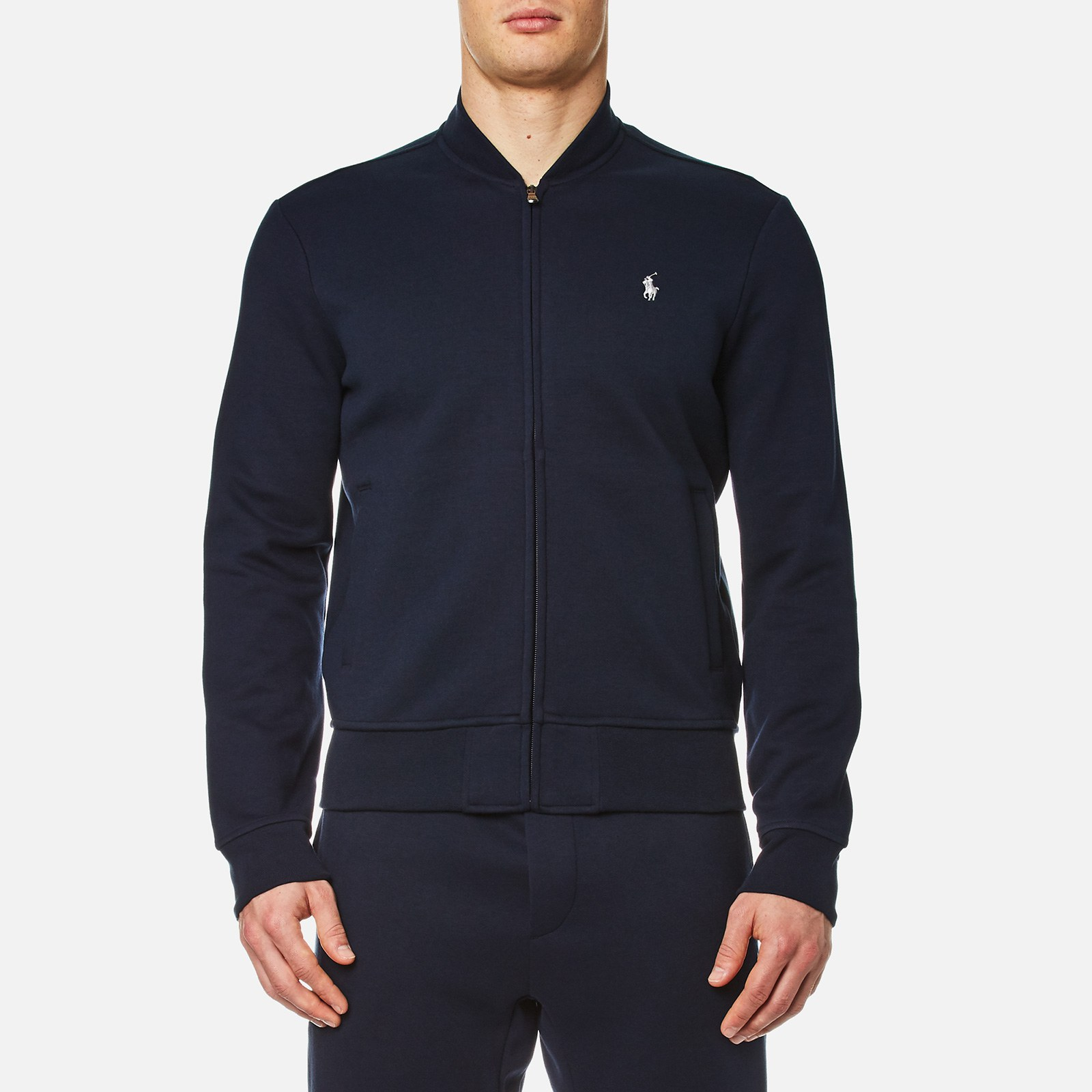 731311425 Polo Ralph Lauren Men s Double Knitted Tech Bomber Jacket - Navy - Free UK  Delivery over £50