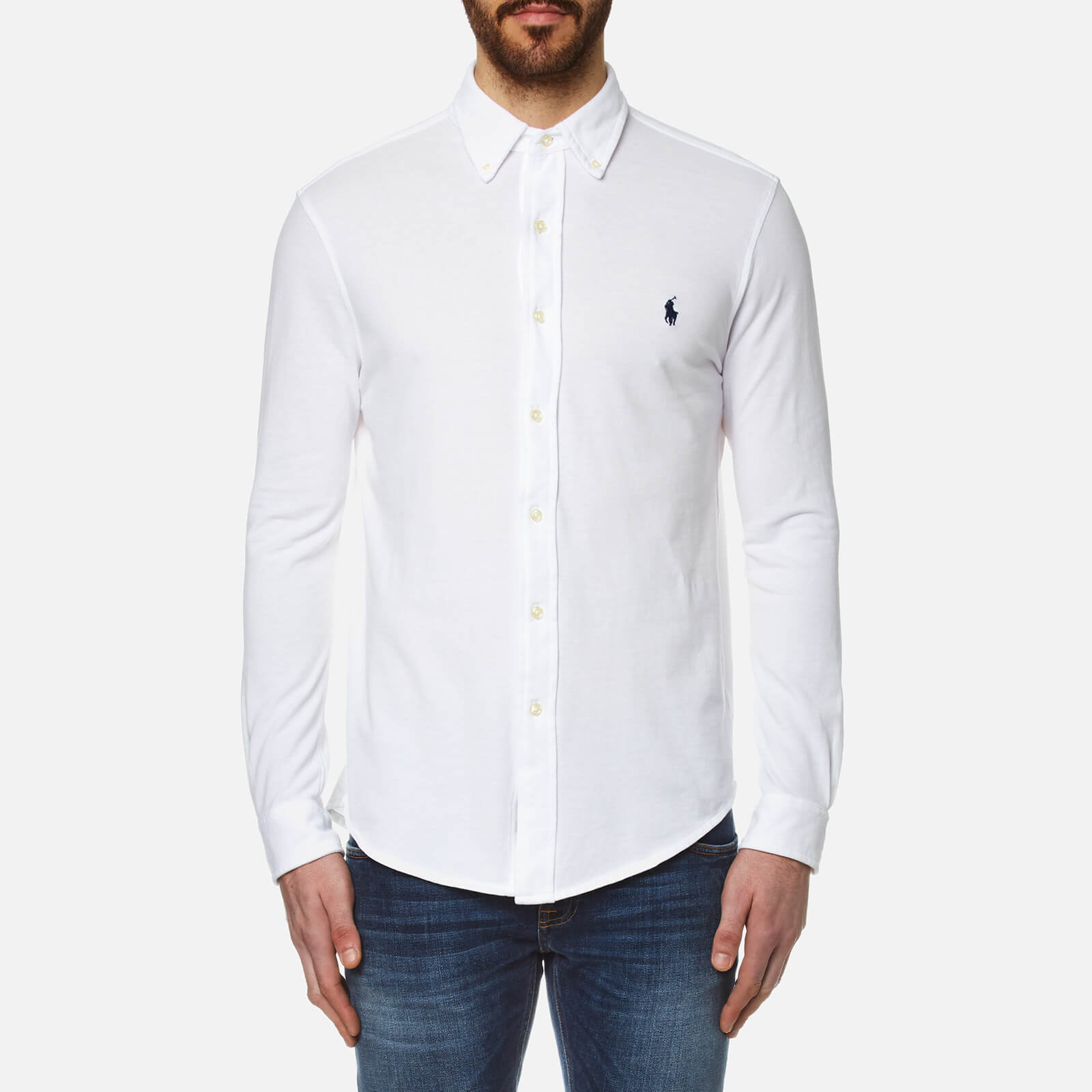 c23a5004075f Polo Ralph Lauren Men's Featherweight Mesh Long Sleeve Shirt - White - Free  UK Delivery over £50
