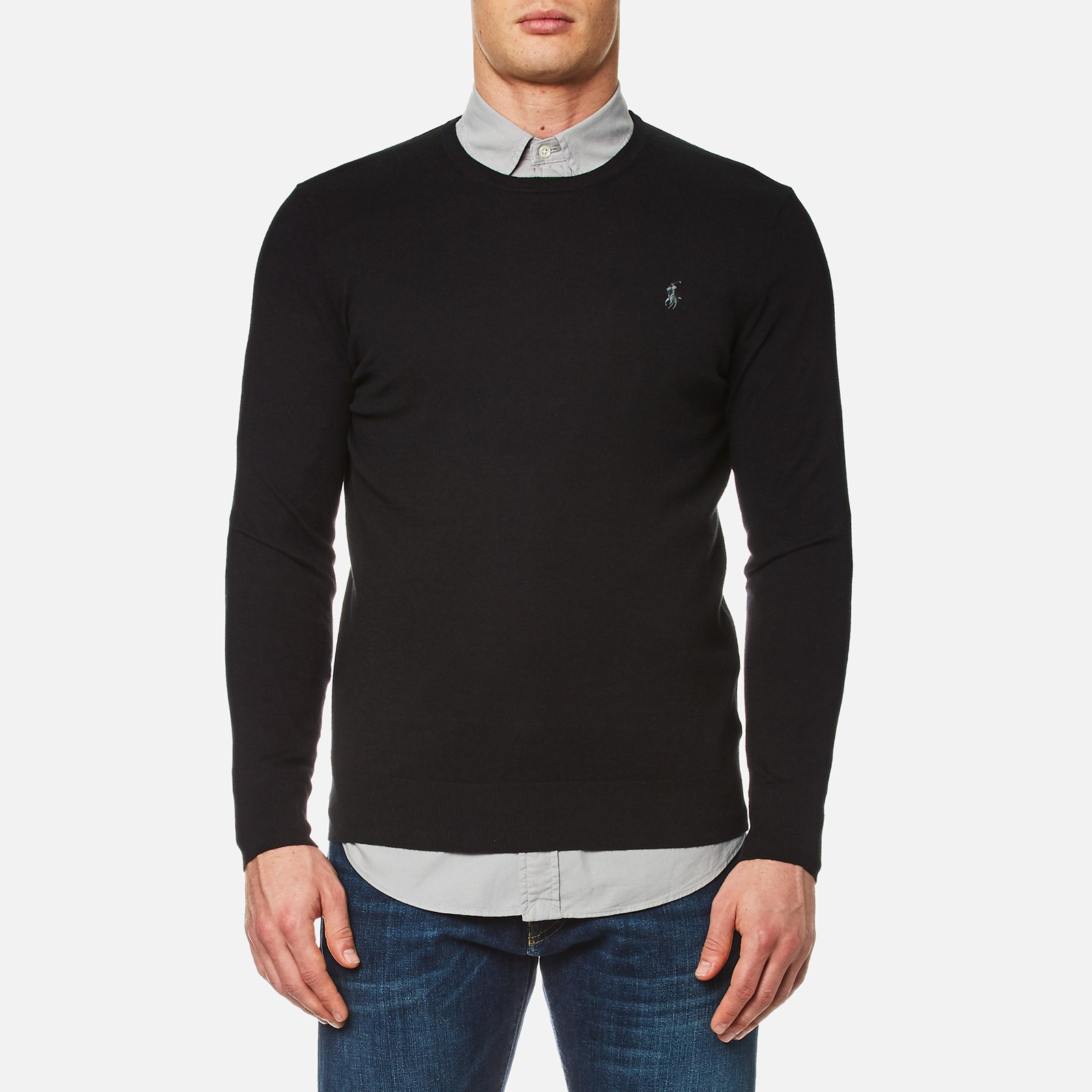 825c8ed91 Polo Ralph Lauren Men's Crew Neck Cotton Blend Knit Jumper - Black - Free  UK Delivery over £50
