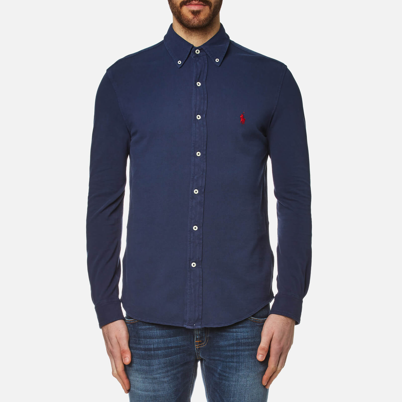 824f5e82 Polo Ralph Lauren Men's Featherweight Mesh Slim Fit Shirt - Navy - Free UK  Delivery over £50