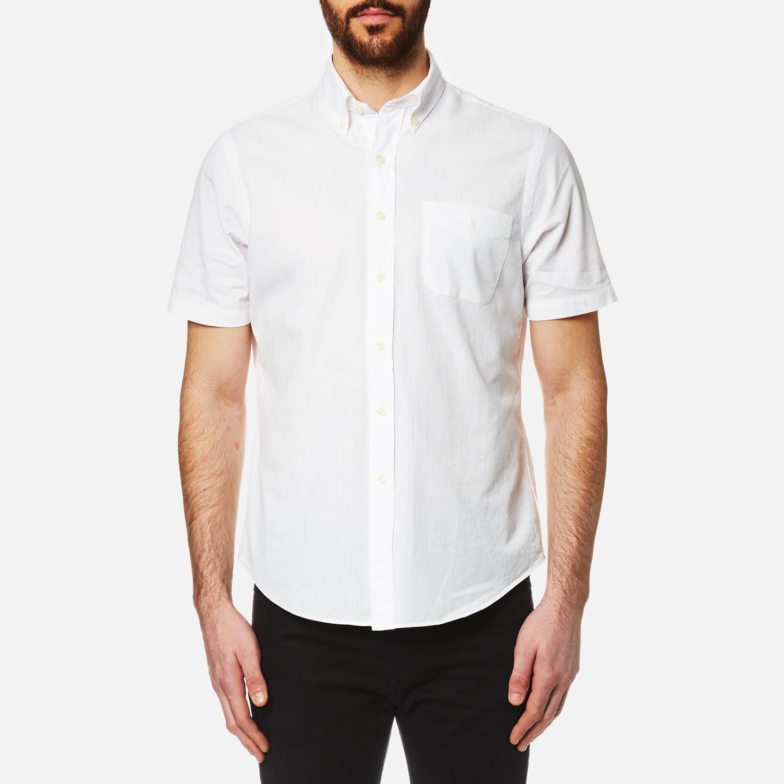 Ralph Lauren Men Blue White Classic Fit Short Sleeve Seersucker Button Shirt L Clothing, Shoes & Accessories Men's Clothing