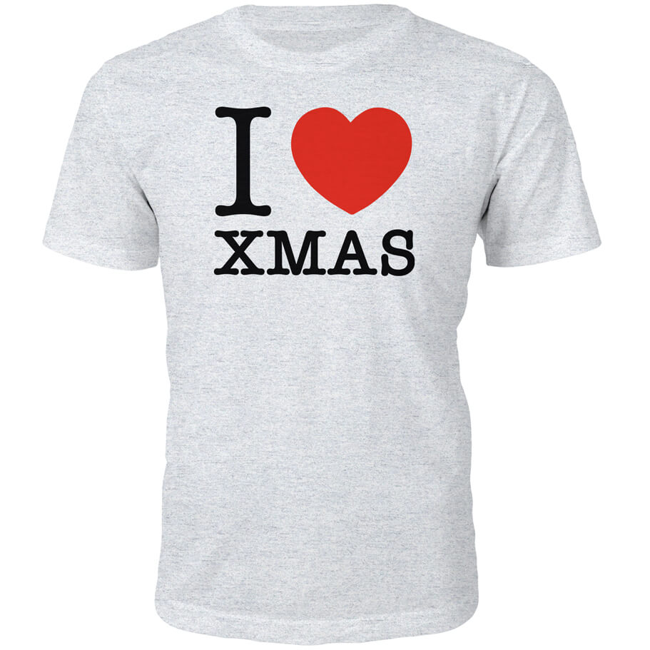 T-Shirt Homme I Heart Xmas -Gris