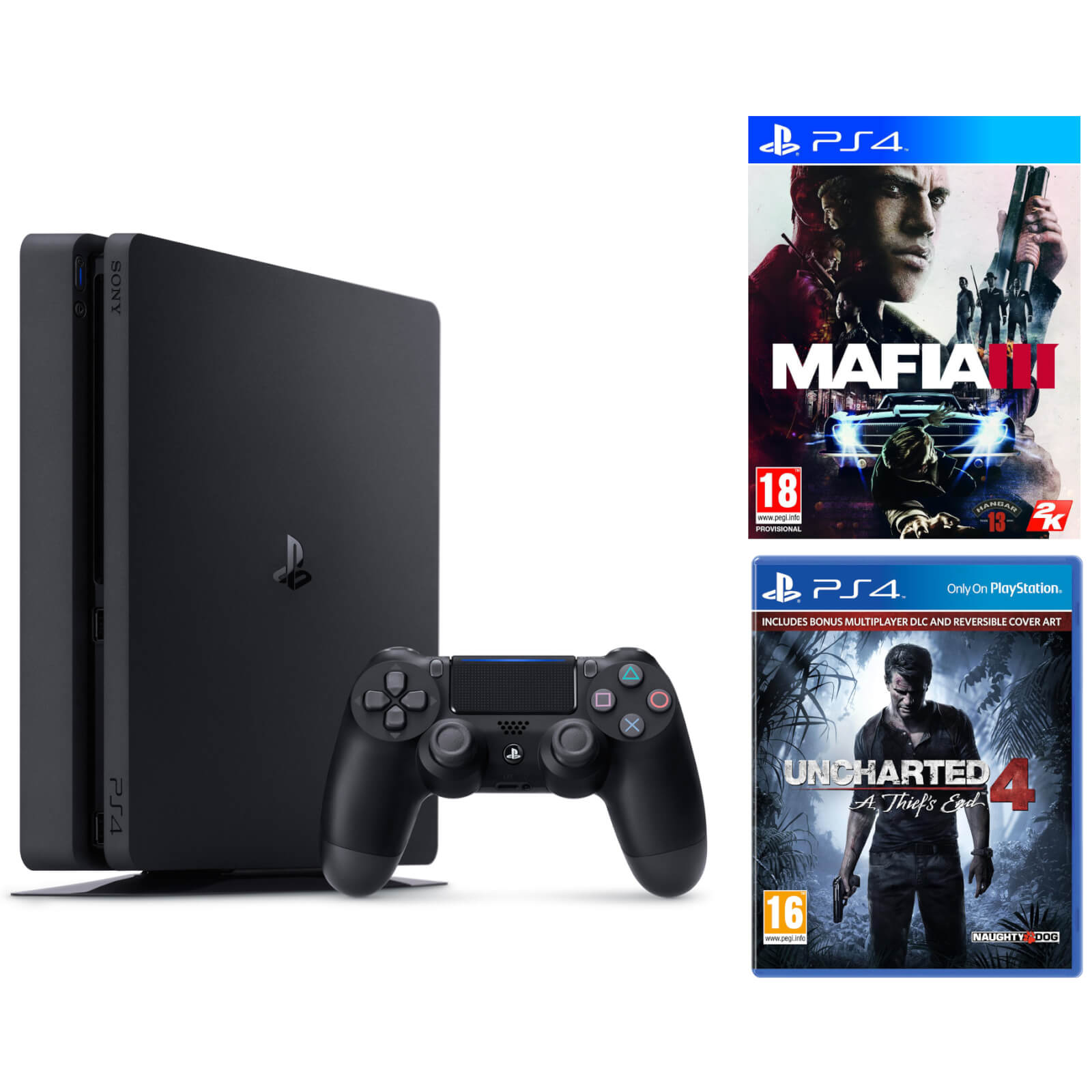 Playstation 4 Slim 500gb Console Includes Uncharted 4 And Mafia