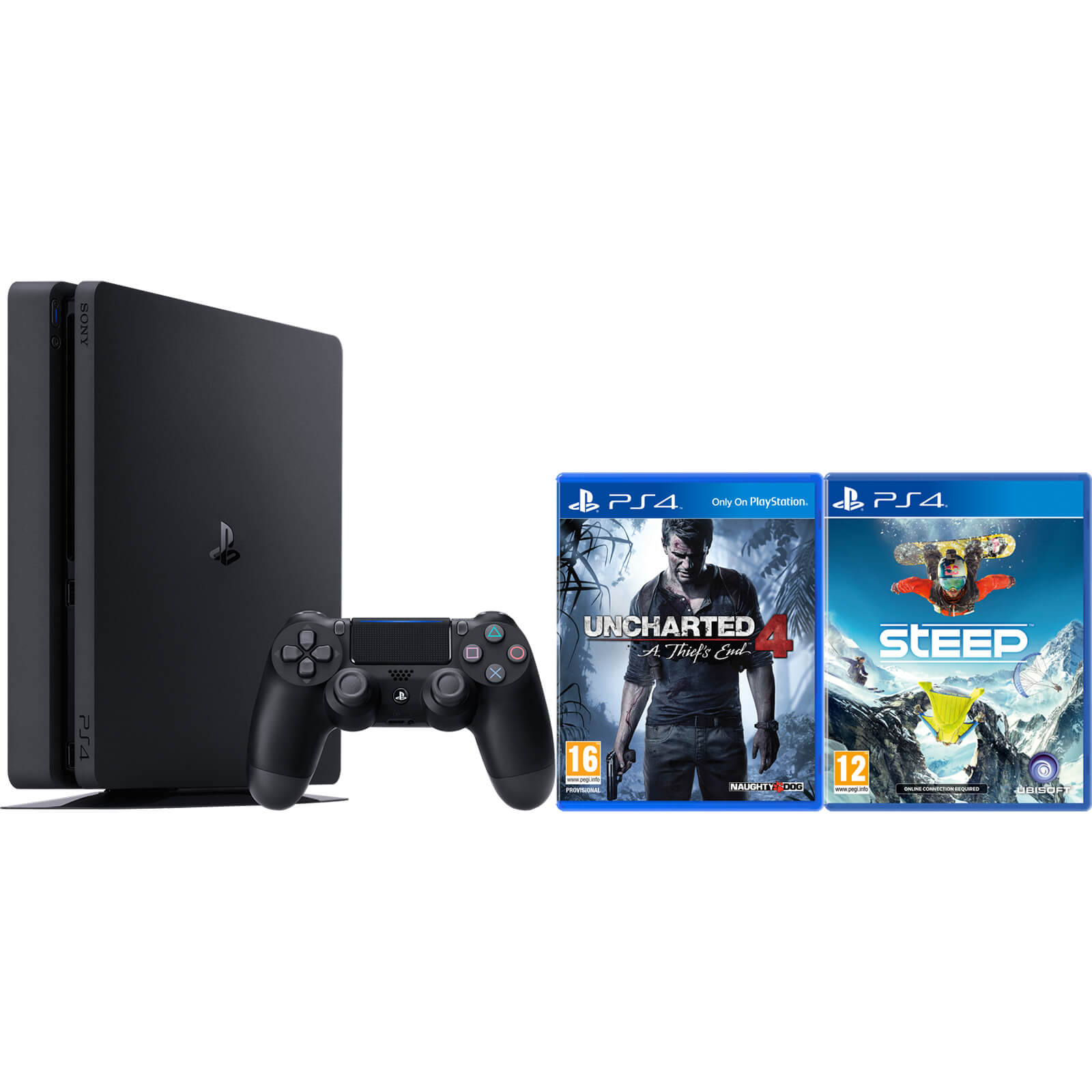 Playstation 4 Slim 500gb Console Includes Uncharted 4 And Steep