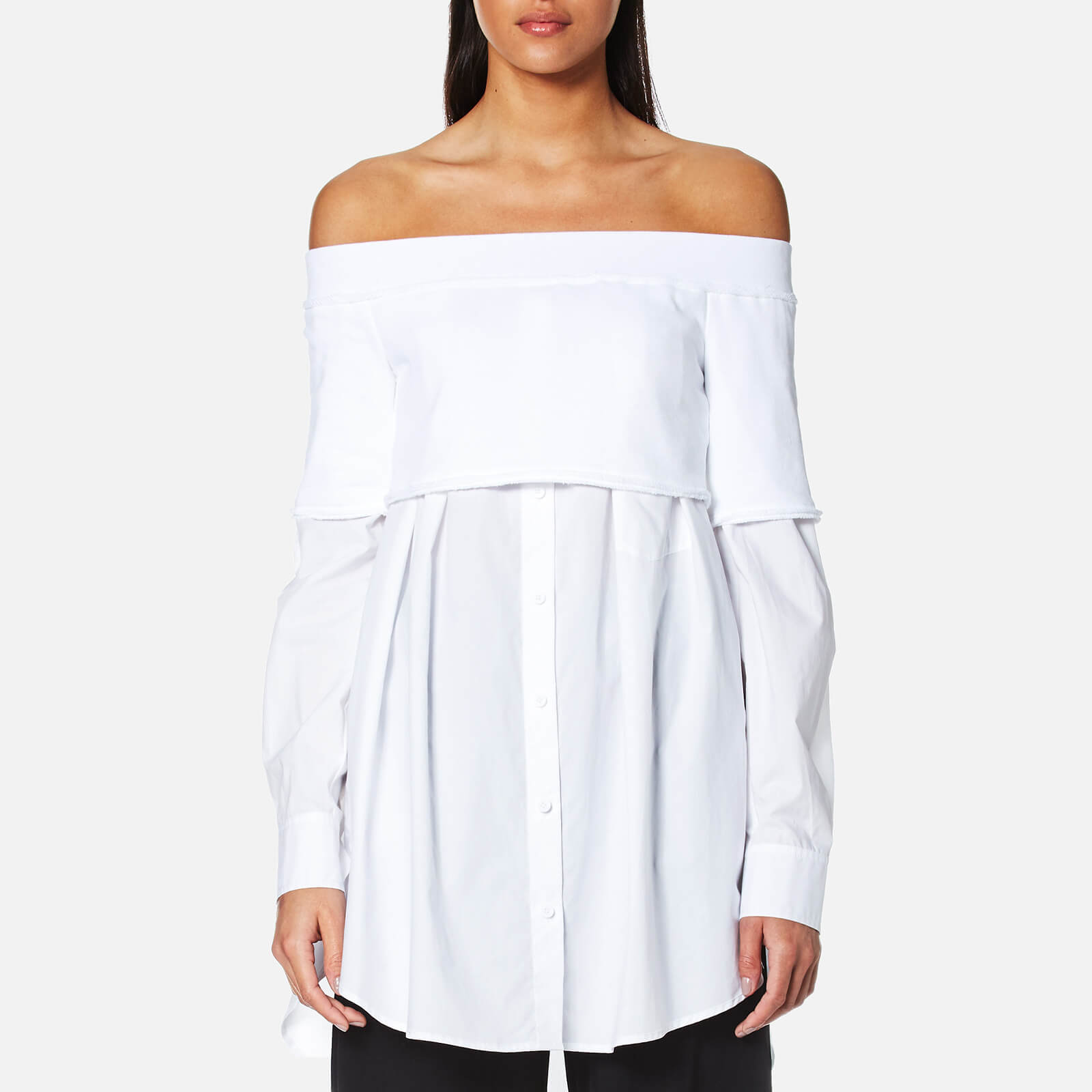 b5af7fc751dbc DKNY Women s Extra Long Sleeve Off the Shoulder Button Down Shirt with Knitted  Top - White Womens Clothing