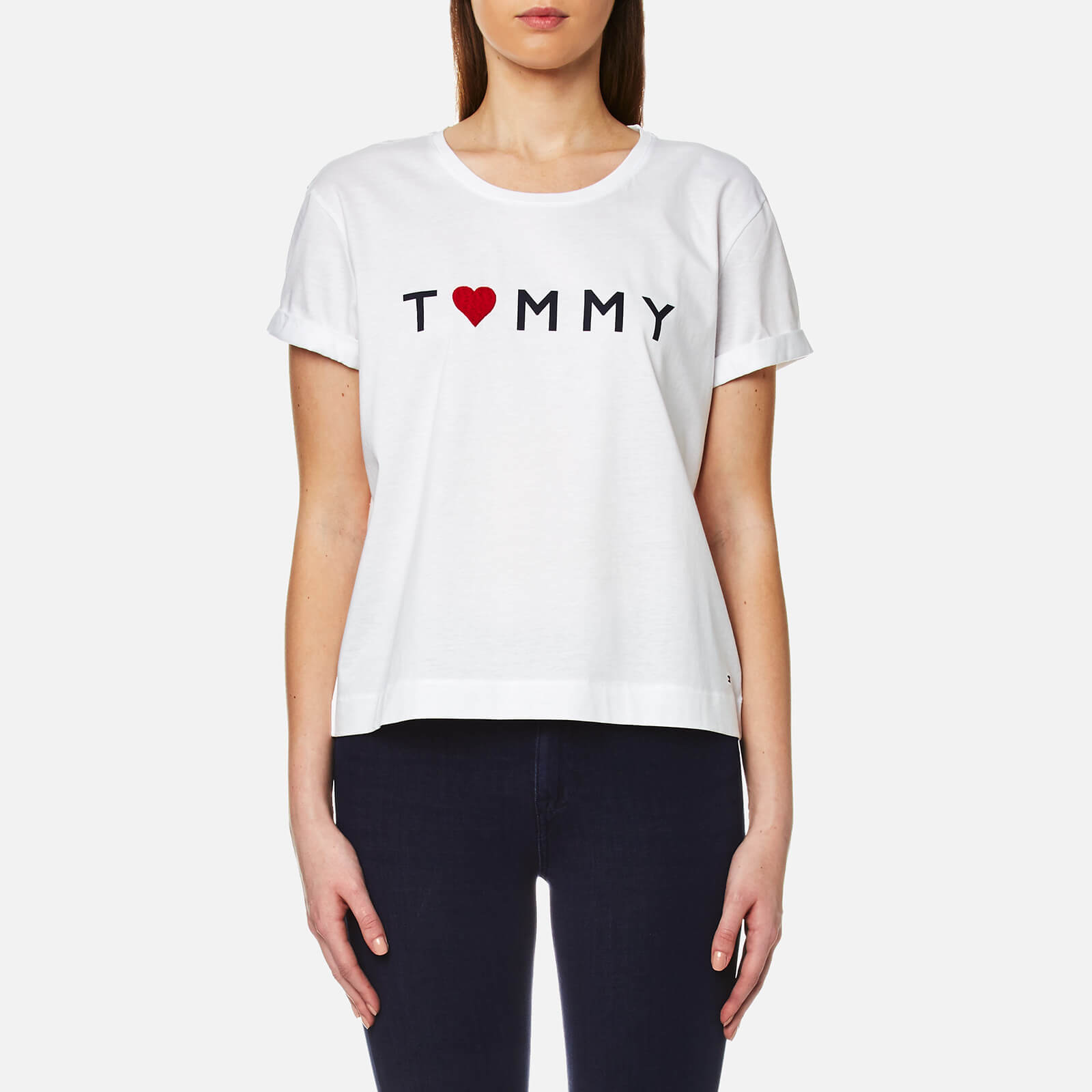 2ed533ad Tommy Hilfiger Women's Tommy Logo Heart T-Shirt - Classic White Womens  Clothing | TheHut.com