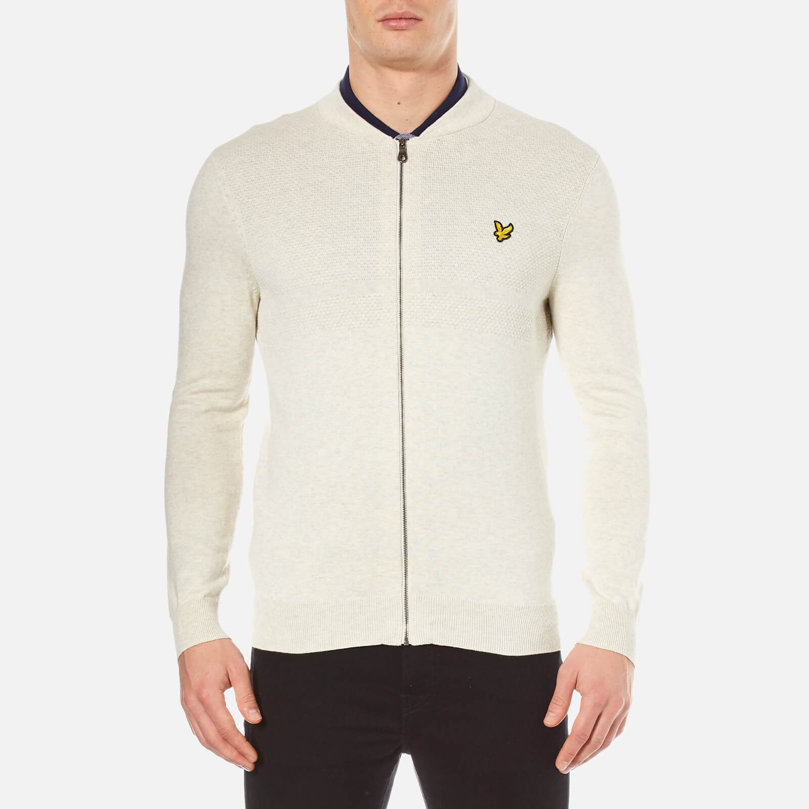 a1e109a2801b Lyle   Scott Men s Textured Yoke Knitted Bomber Jacket - Off White Marl  Clothing
