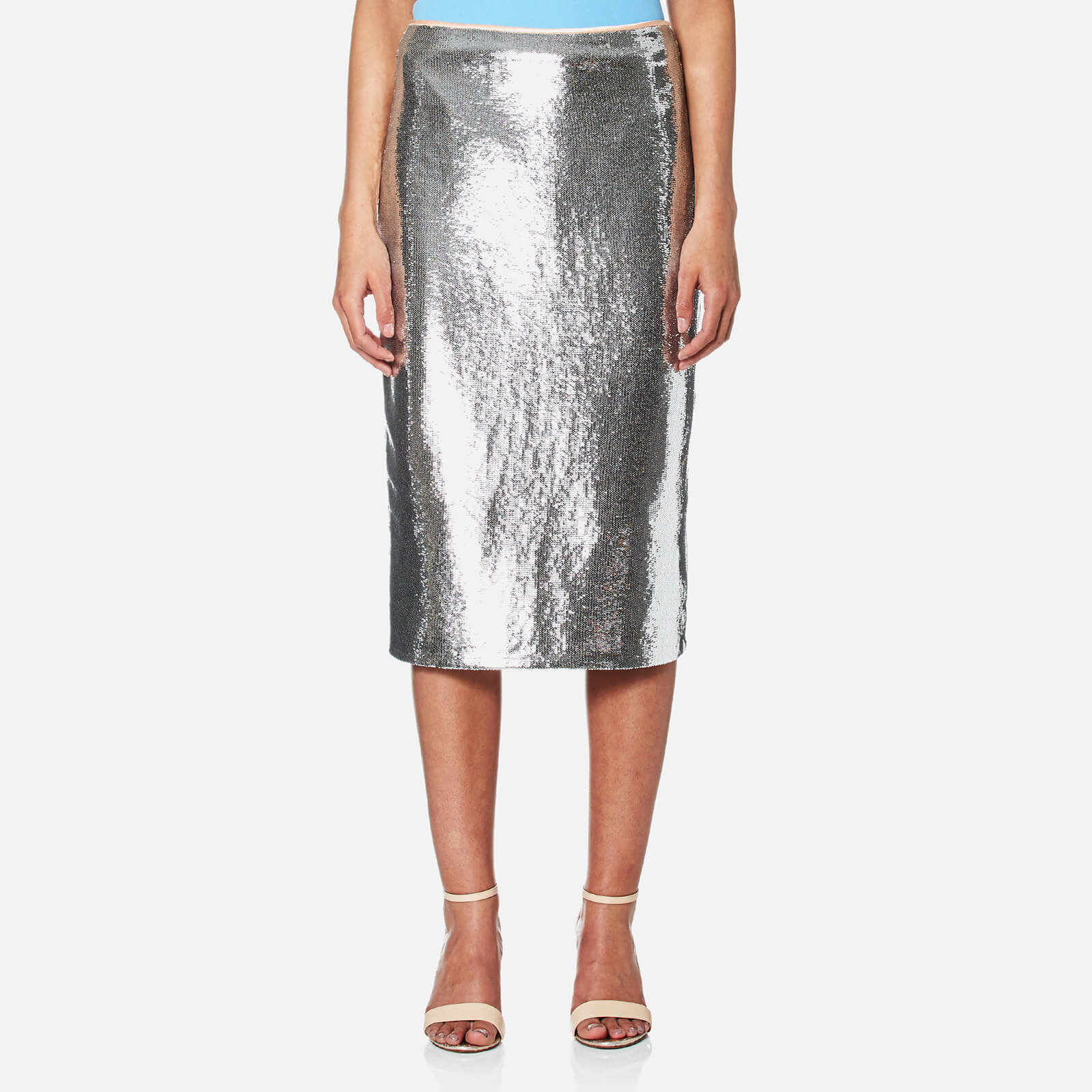 0b076ac32903 Diane von Furstenberg Women's Midi Sequin Pencil Skirt - Silver/Nectar -  Free UK Delivery over £50