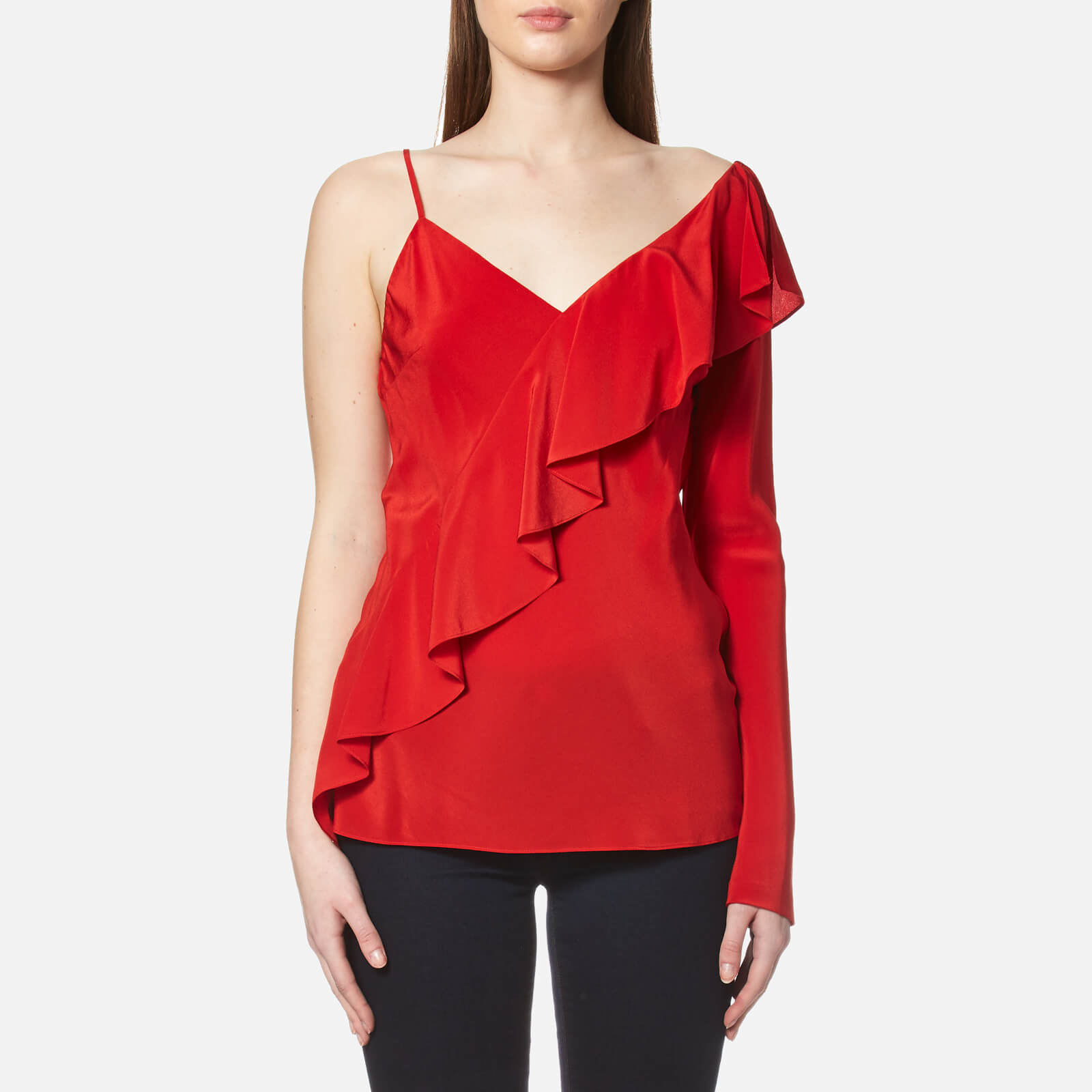 ee47f0c38f738 Diane von Furstenberg Women's Asymmetric Sleeveless Ruffle Front Blouse -  Dare Red - Free UK Delivery over £50
