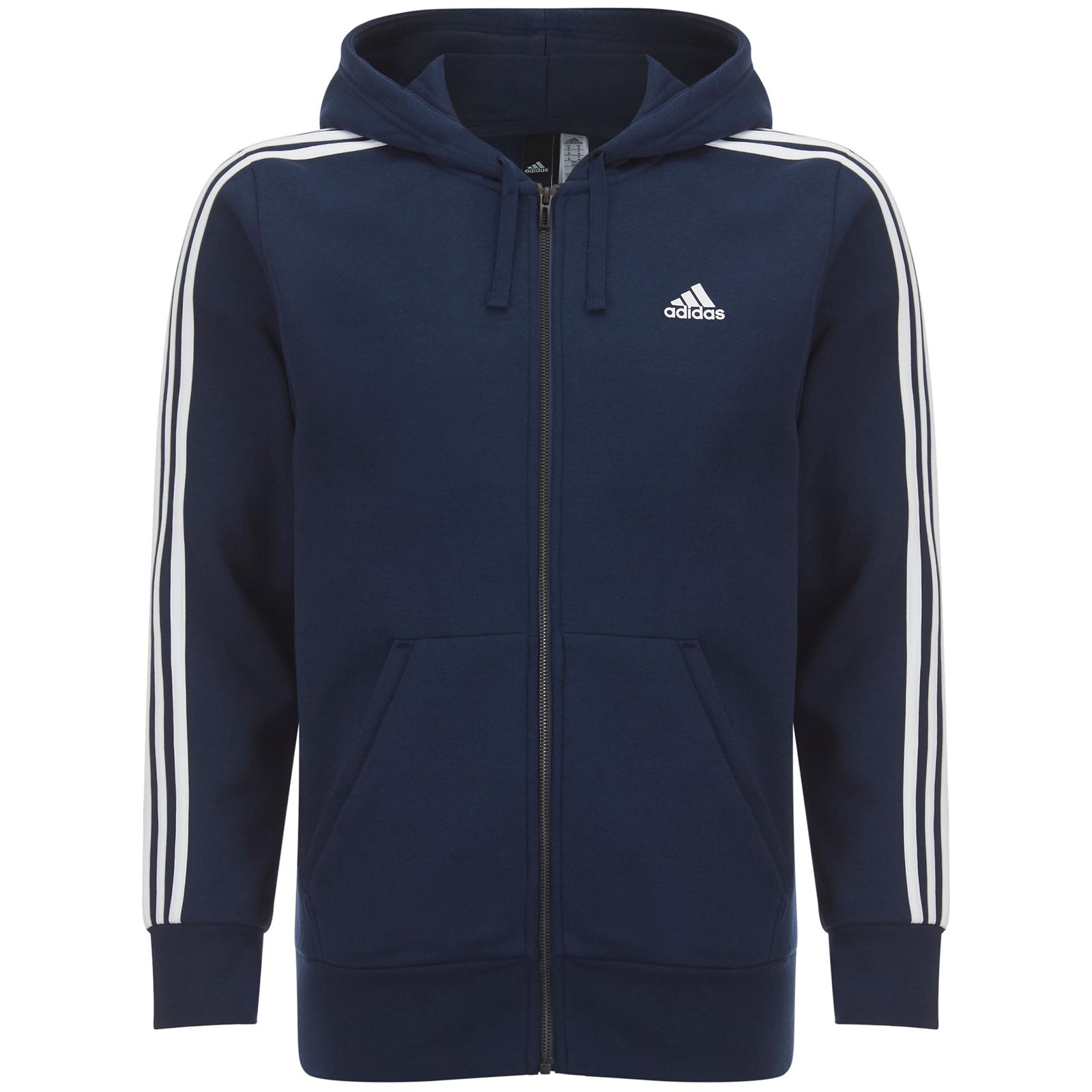adidas Men's Essential 3 Stripe Fleece Hoody Navy