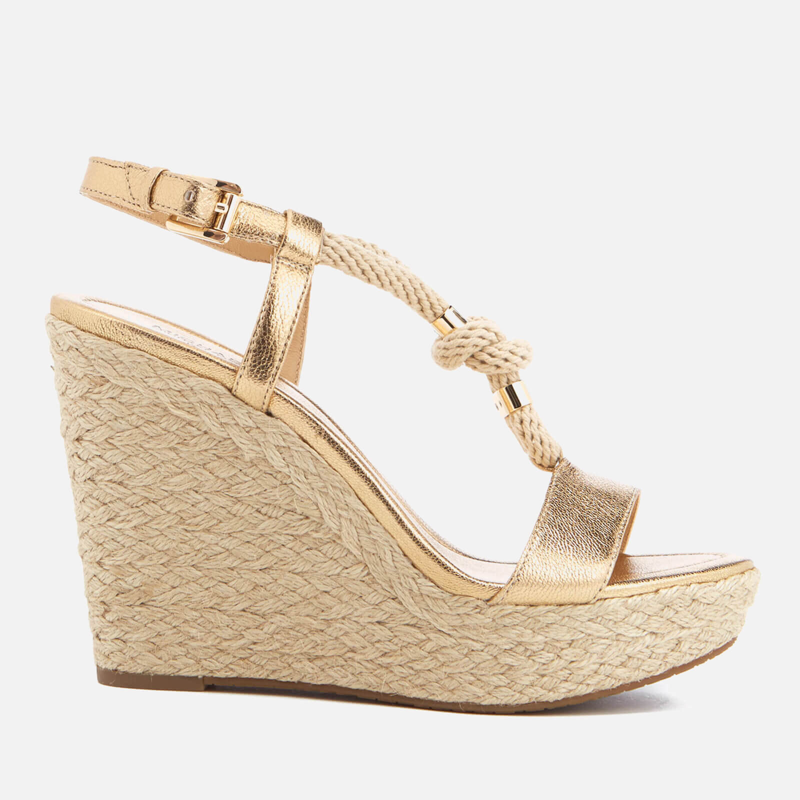 31588c68103f MICHAEL MICHAEL KORS Women s Holly Rope Strap Wedged Sandals - Pale Gold -  Free UK Delivery over £50