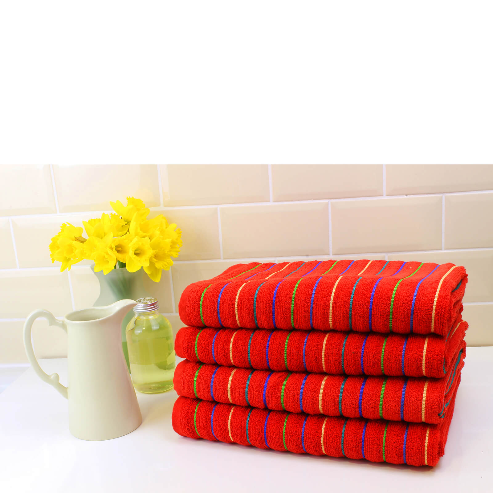 Restmor 100% Cotton 4 Pack Bath Sheets (500 GSM) - Red