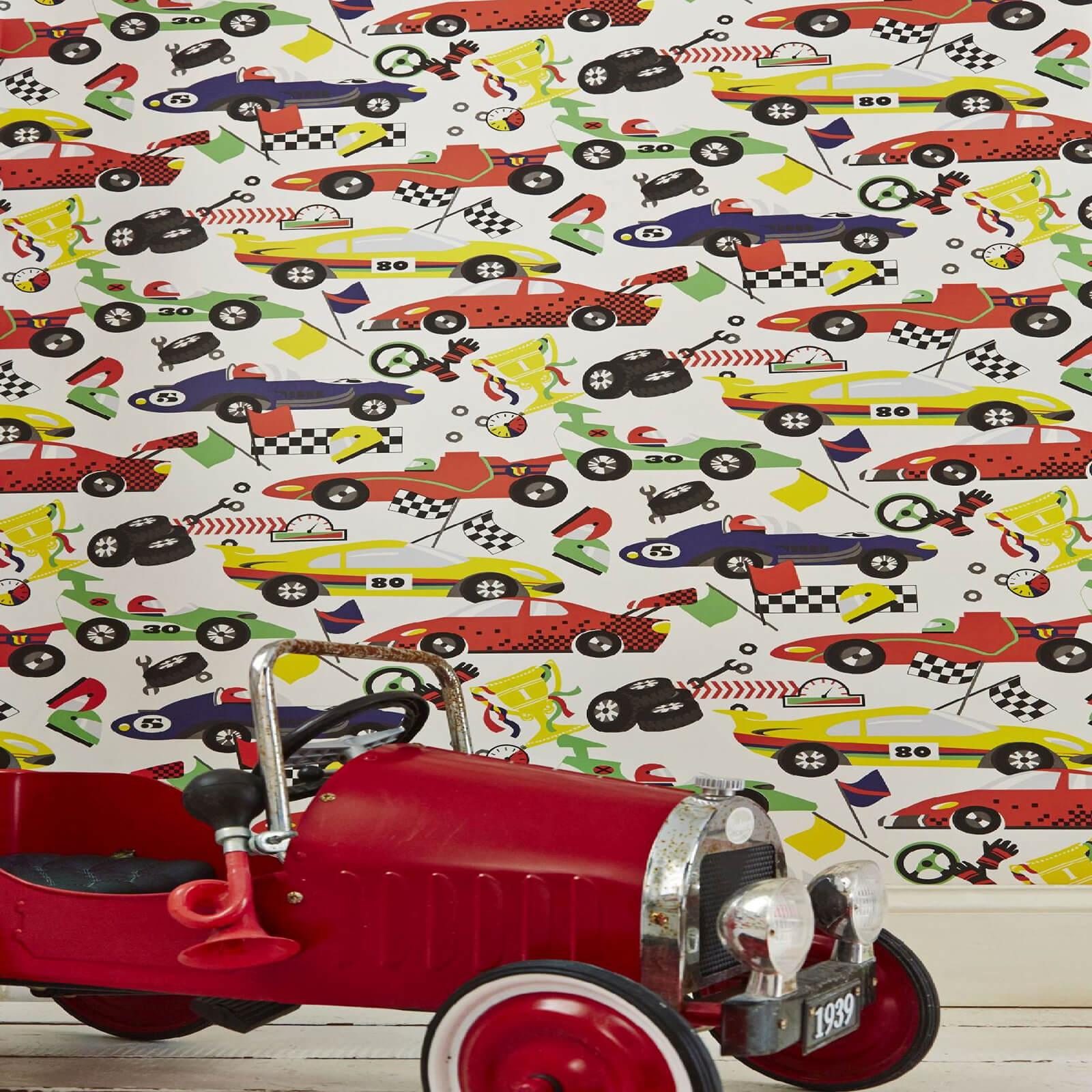 Superfresco Easy Kids Pit Stop Cars Multi Wallpaper Iwoot