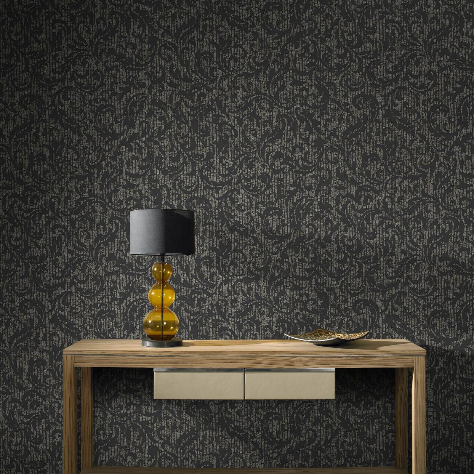 Boutique Cashmere Charcoal and Champagne Metallic Wallpaper