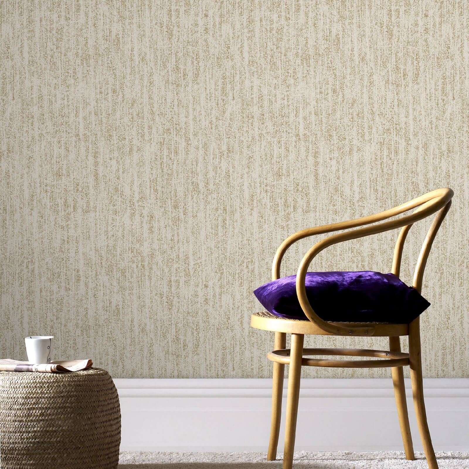 Boutique Devore Beige and Gold Metallic Wallpaper
