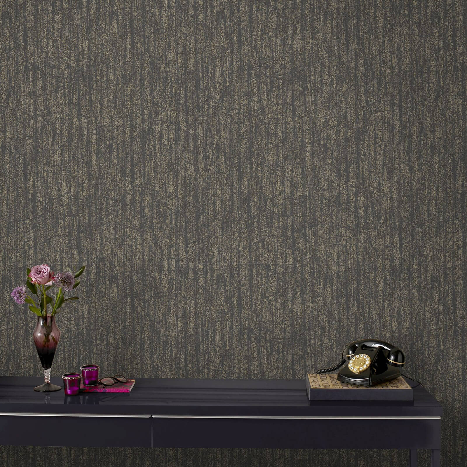 Boutique Devore Charcoal and Champagne Metallic Wallpaper