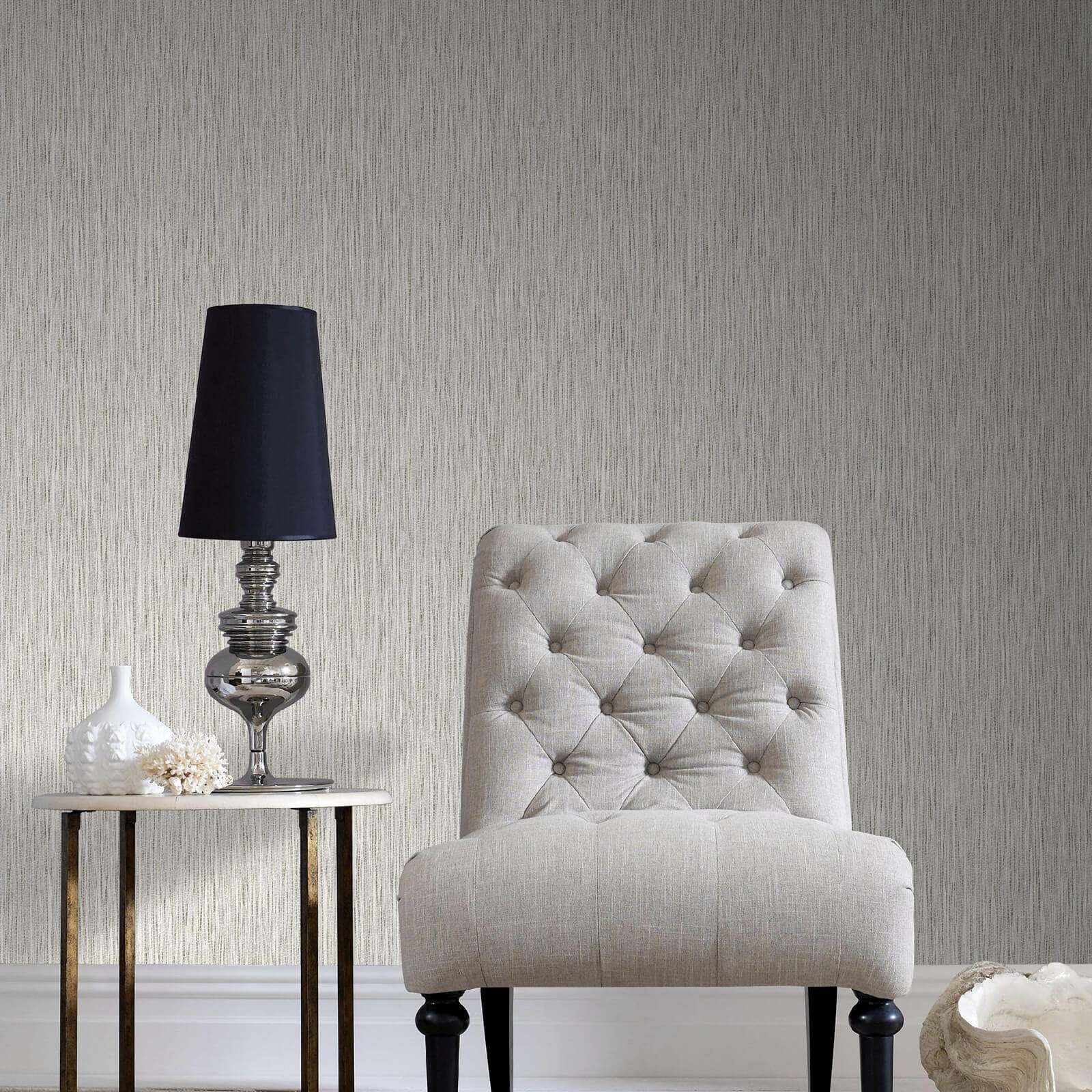 Boutique Grasscloth Cream Textured Metallic Wallpaper