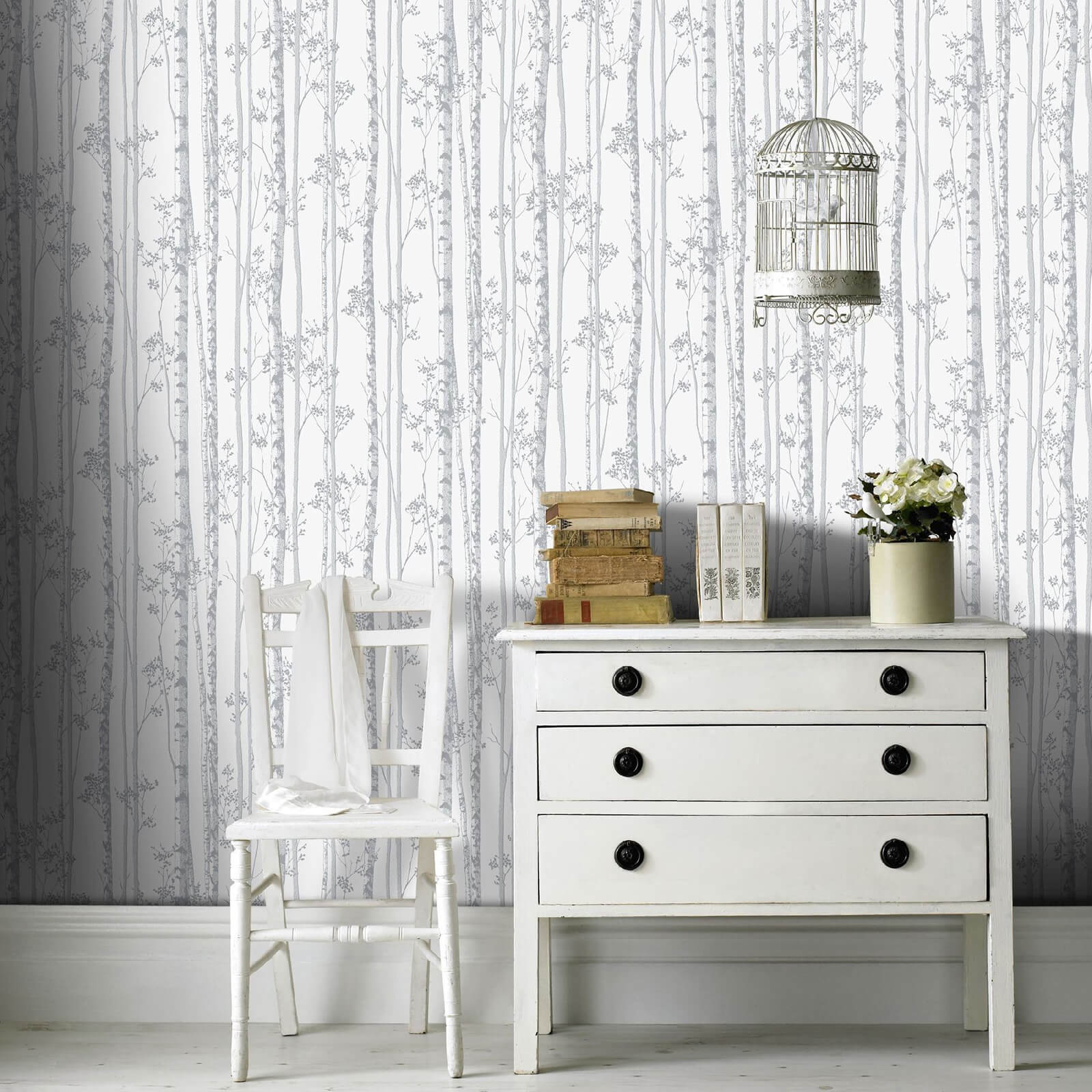 Boutique Linden Branch Shimmer Tree Print Pearl/Grey Wallpaper