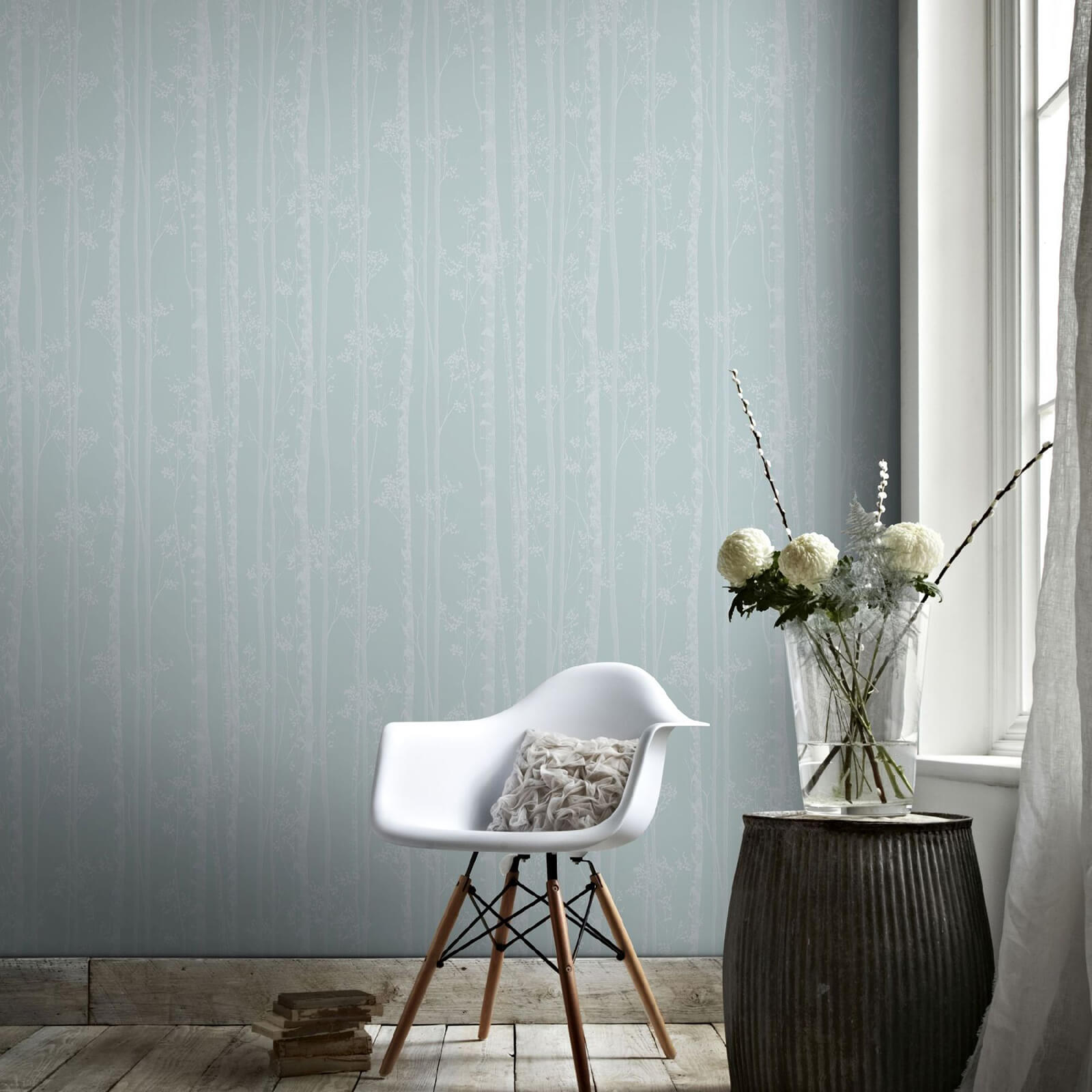 Boutique Linden Branch Tree Print Blue/White Wallpaper