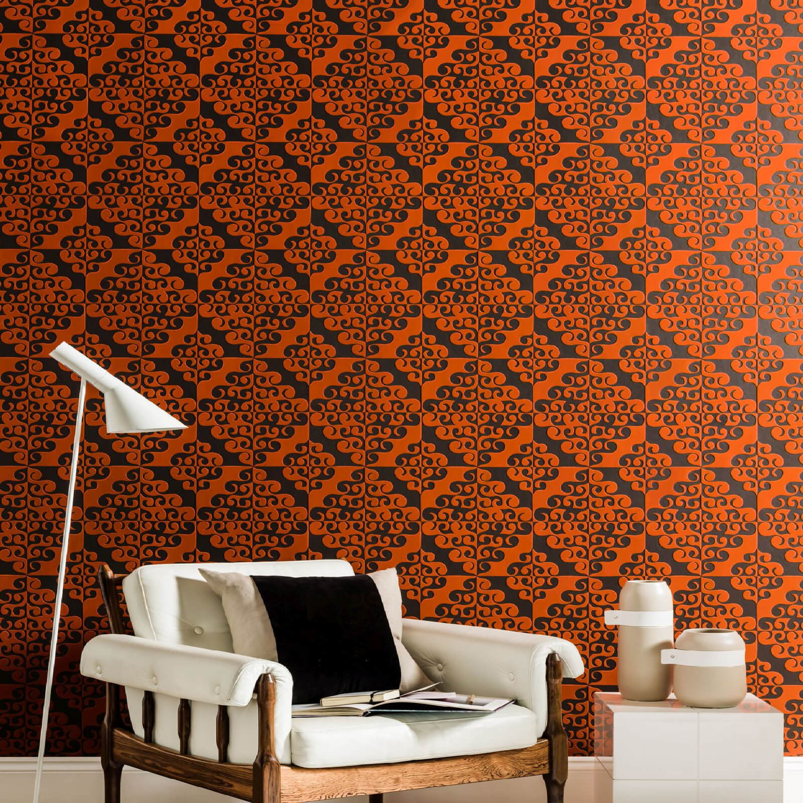 Kelly Hoppen Geometric Twist Flock Chocolate/Orange Wallpaper
