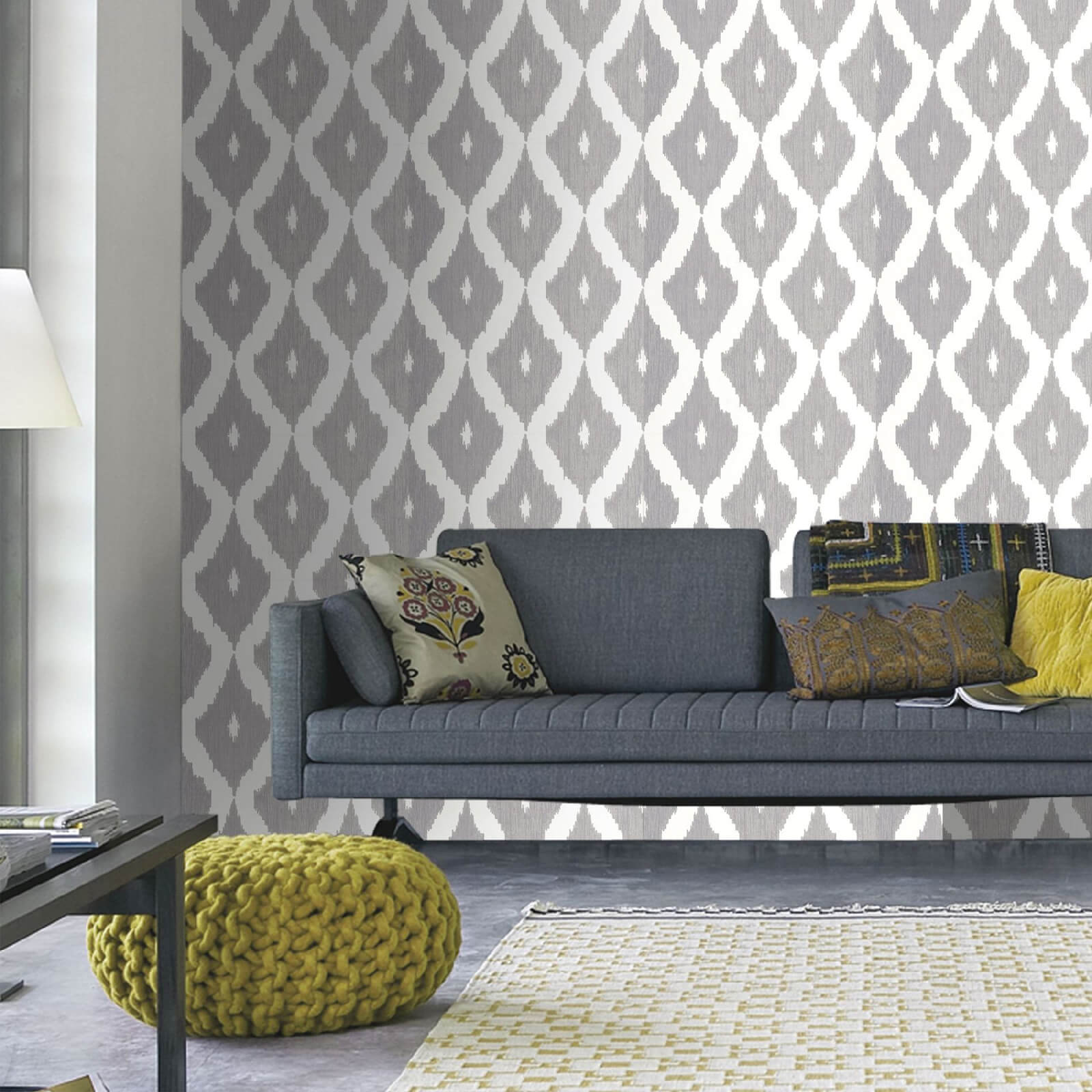 Kelly Hoppen Ikat Geometric Print White/Soft Grey Wallpaper