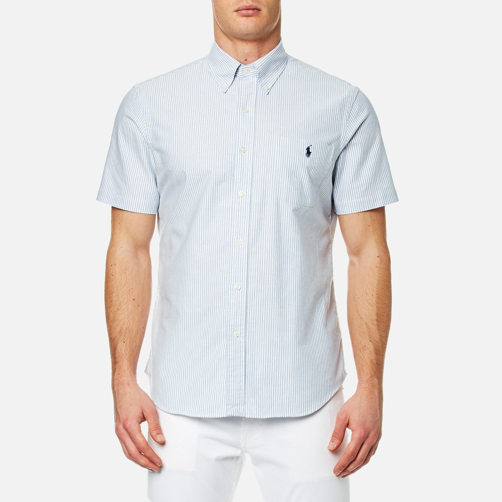 3b53d2945c Polo Ralph Lauren Men's Short Sleeve Button Down Shirt - Blue/White - Free  UK Delivery over £50