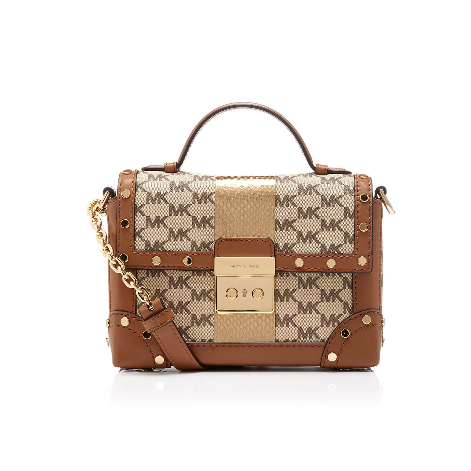 3118f1f7fec3a MICHAEL MICHAEL KORS Women s Centre Stripe Cori Small Trunk Bag - Natural - Free  UK Delivery over £50