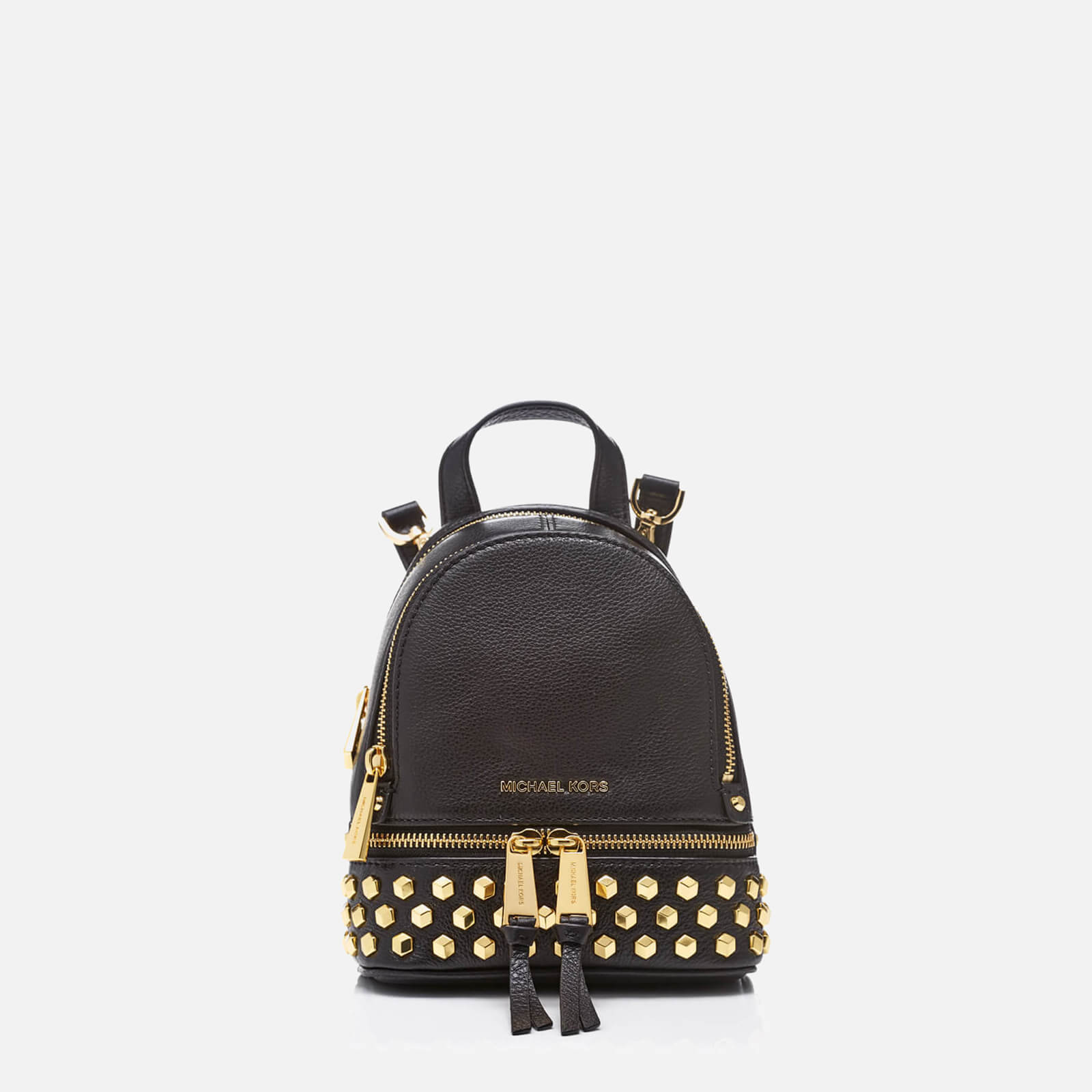 59817501a3fb MICHAEL MICHAEL KORS Women's Rhea Zip Studded XS Messenger Backpack - Black  - Free UK Delivery over £50