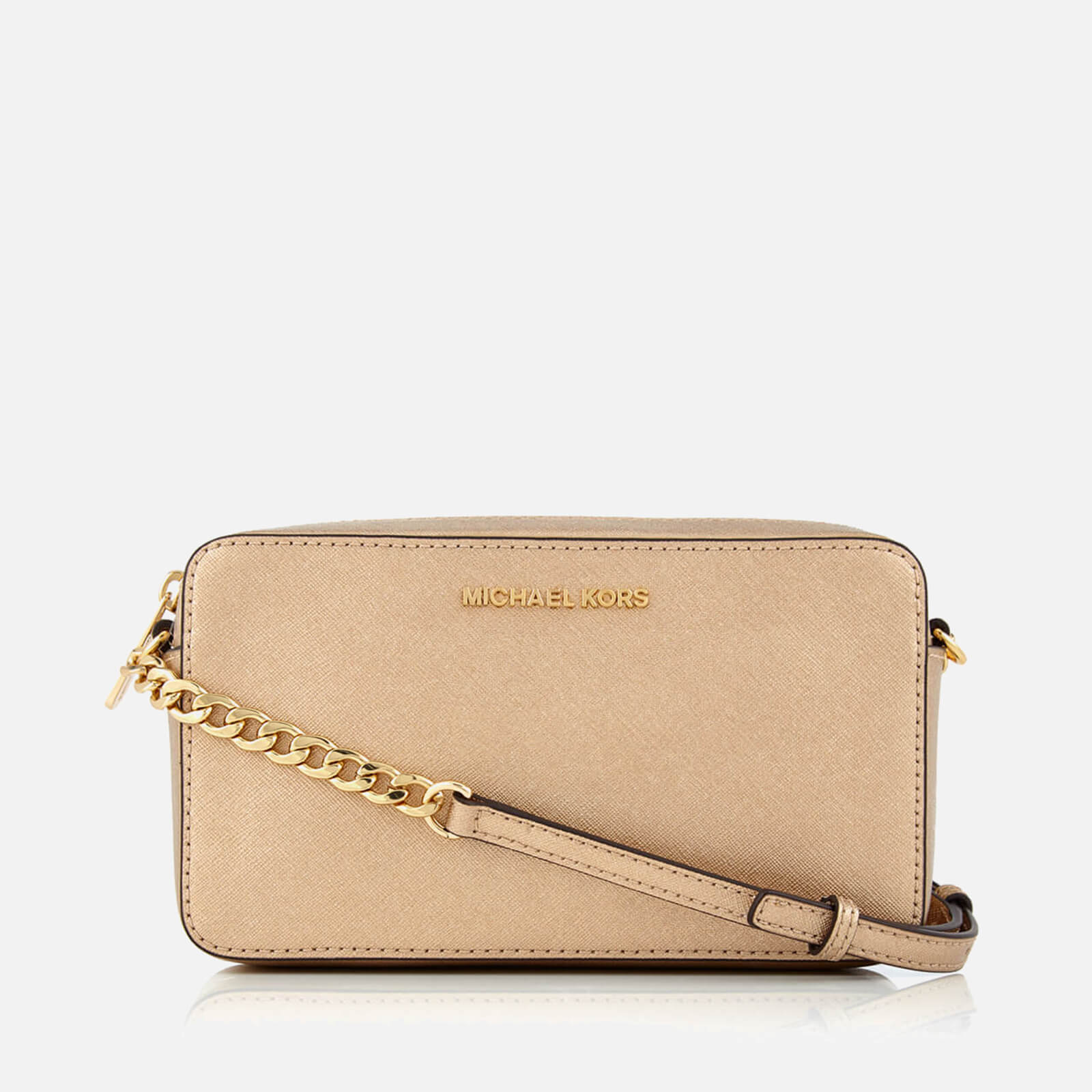 7ea8159f3889 MICHAEL MICHAEL KORS Women's Jet Set Travel Medium East West Cross Body Bag  - Pale Gold Womens Accessories | TheHut.com