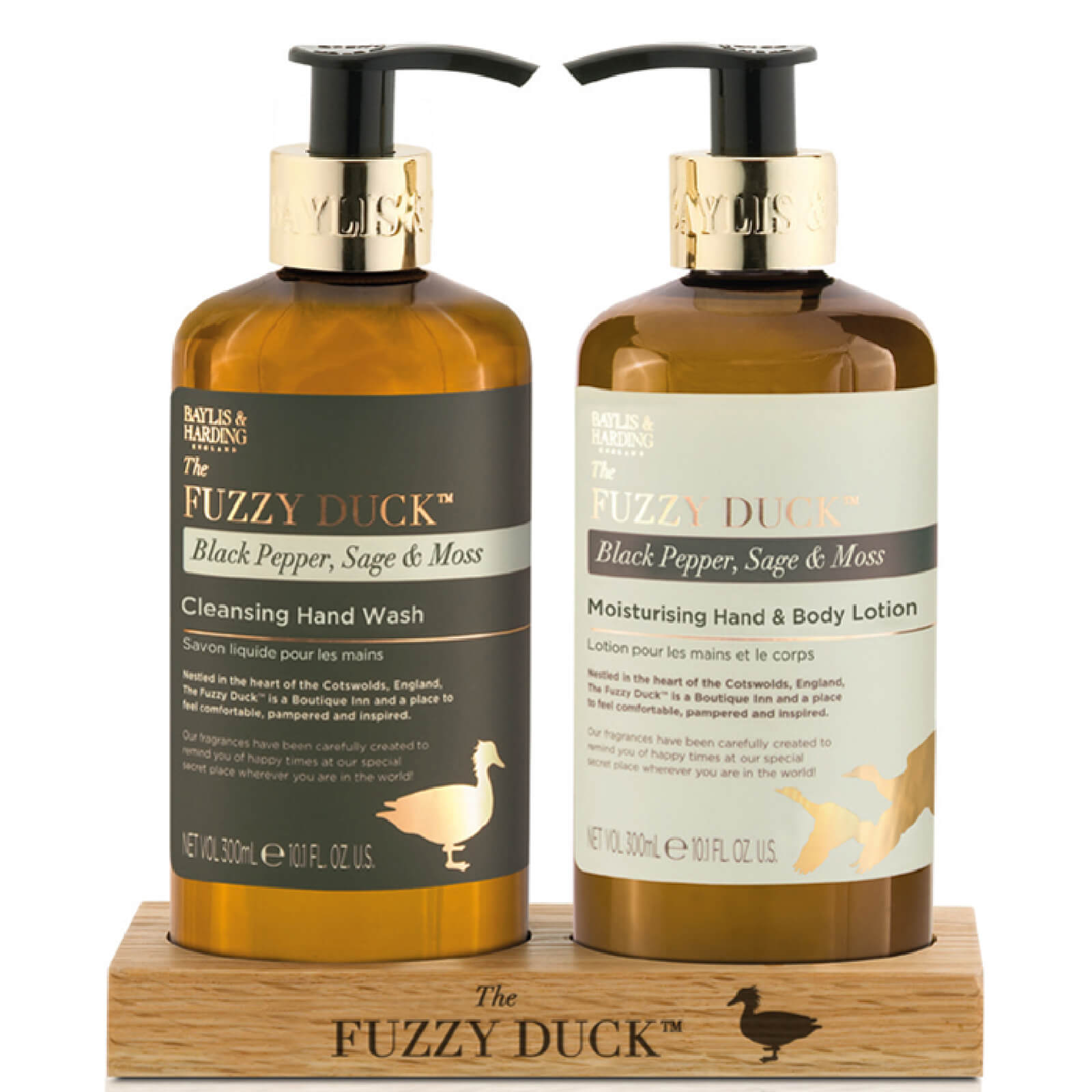 Baylis & Harding Fuzzy Duck Black Pepper, Sage & Moss 2 Bottle Set