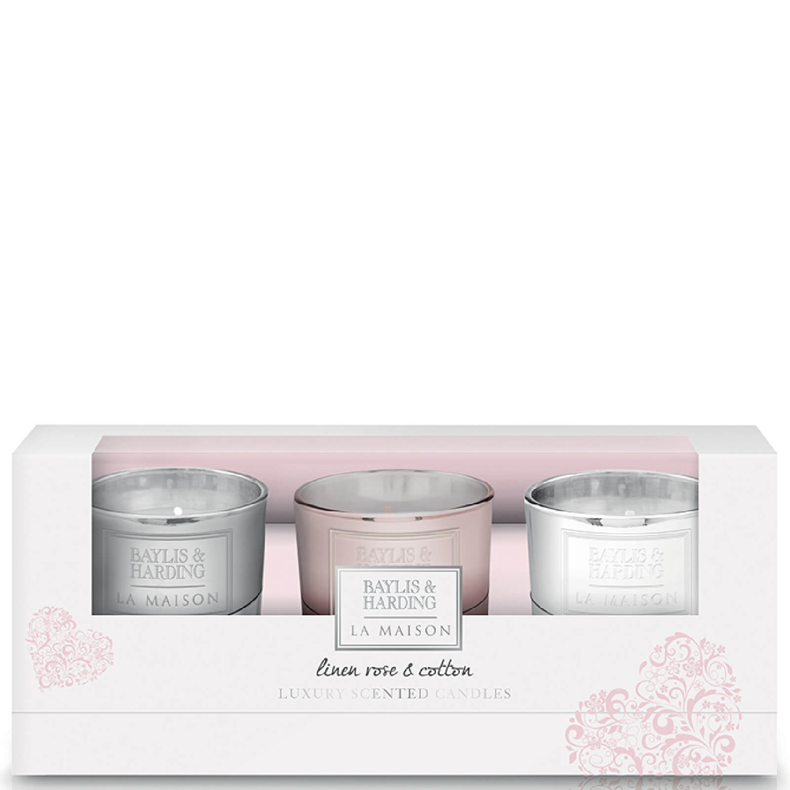 Baylis & Harding La Maison Linen Rose & Cotton - 3 Candle Set
