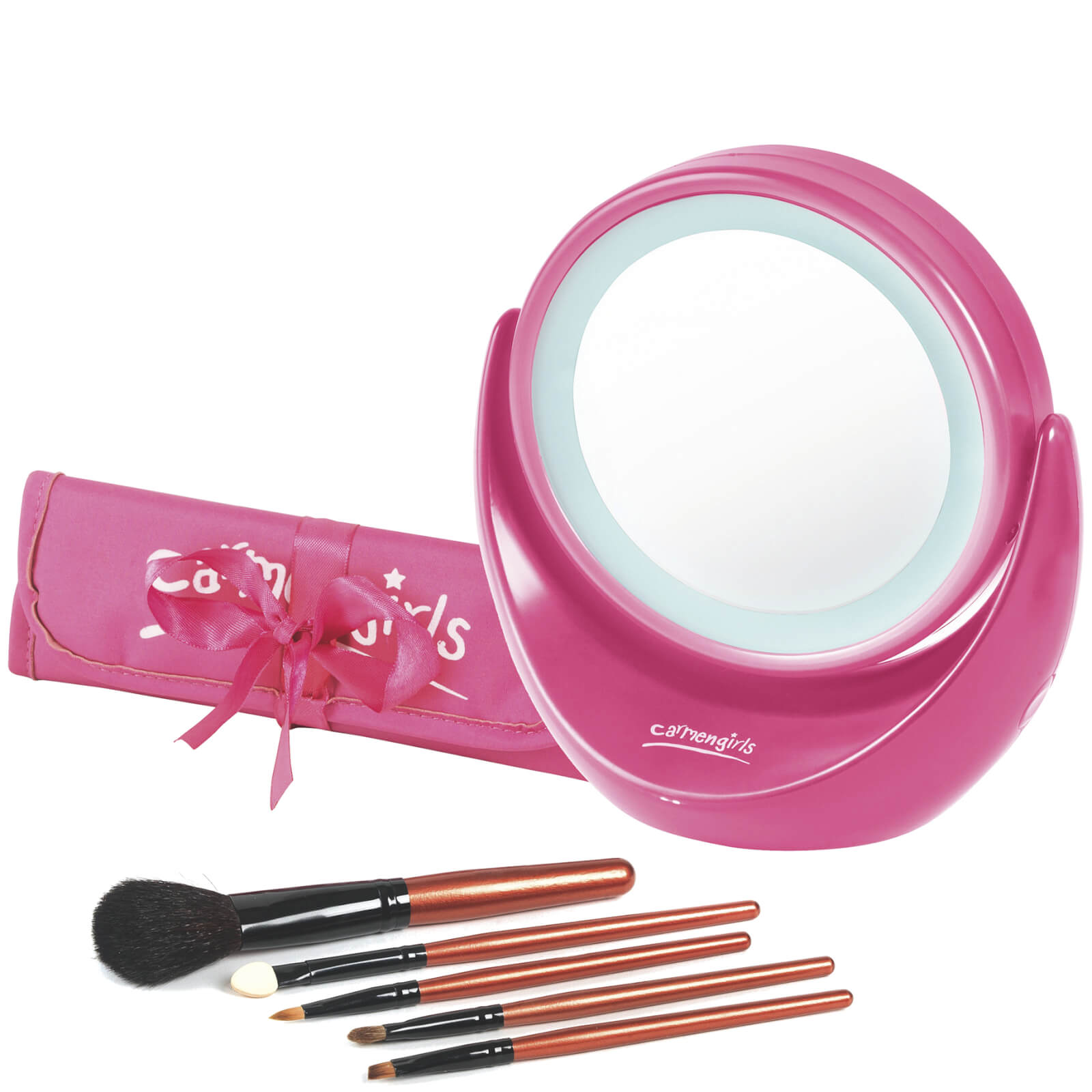 Carmen Girls Vanity Mirror With Light Gift Set Pink