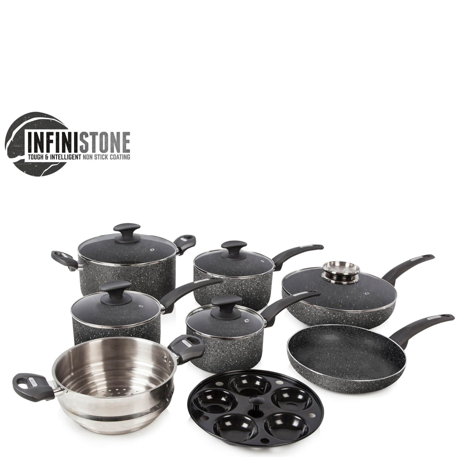 Tower 9 Piece Stone Coated Pan Set - Graphite