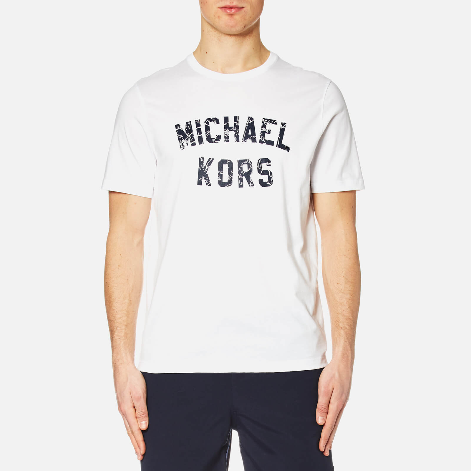 6a8503f7 Michael Kors Men's Varsity Text Graphic Michael Kors Logo T-Shirt - White -  Free UK Delivery over £50