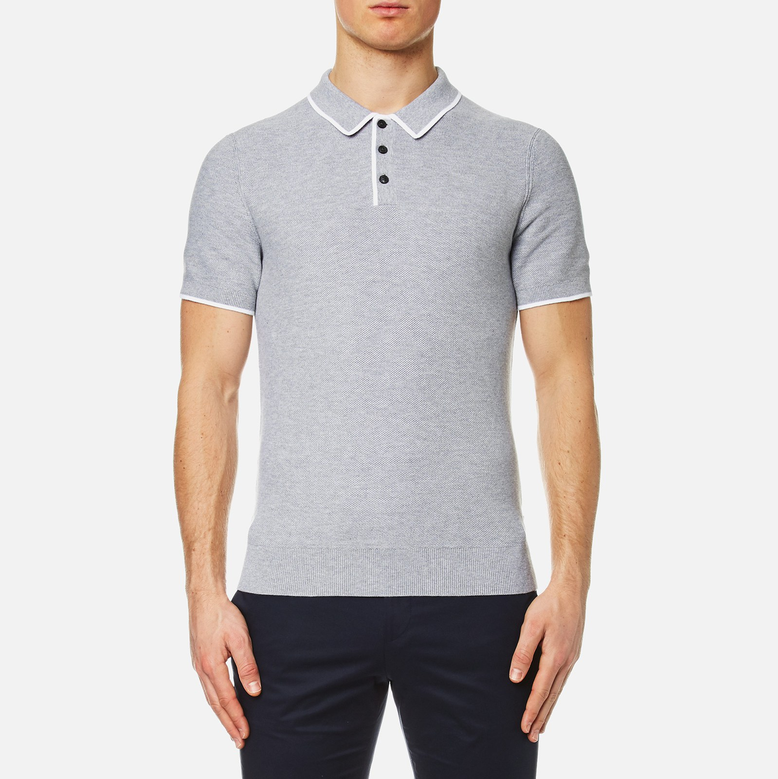 2cdfd066 Michael Kors Men's Tuck Stitch Tip Polo Shirt - Heather Grey - Free UK  Delivery over £50