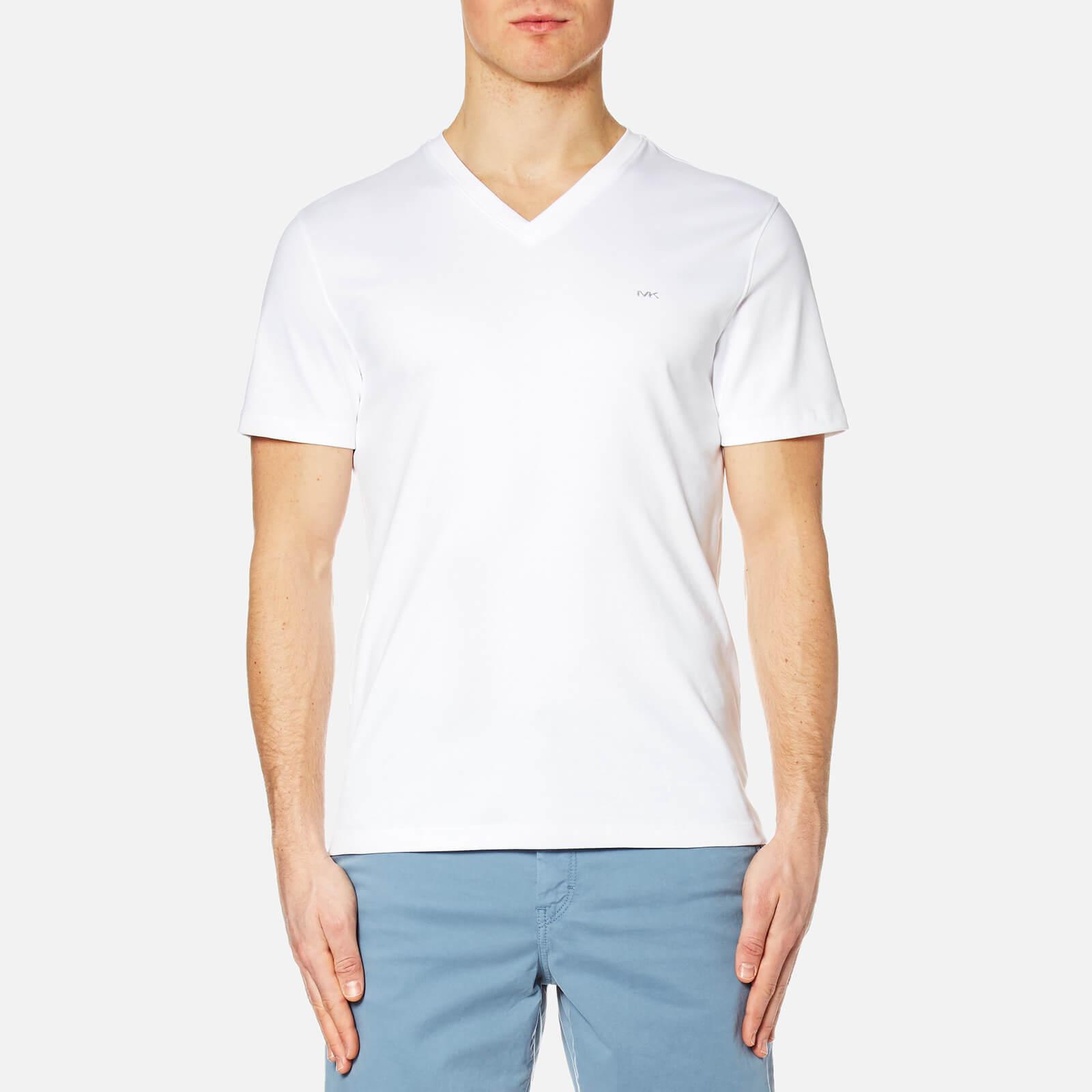 6f0429c9 Michael Kors Men's Sleek Mk V Neck T-Shirt - White Clothing   TheHut.com