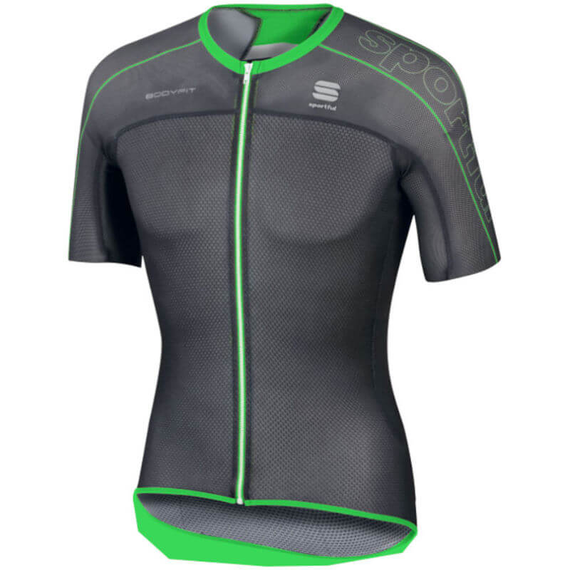 Sportful BodyFit Ultra Light Short Sleeve Jersey - Black/Green