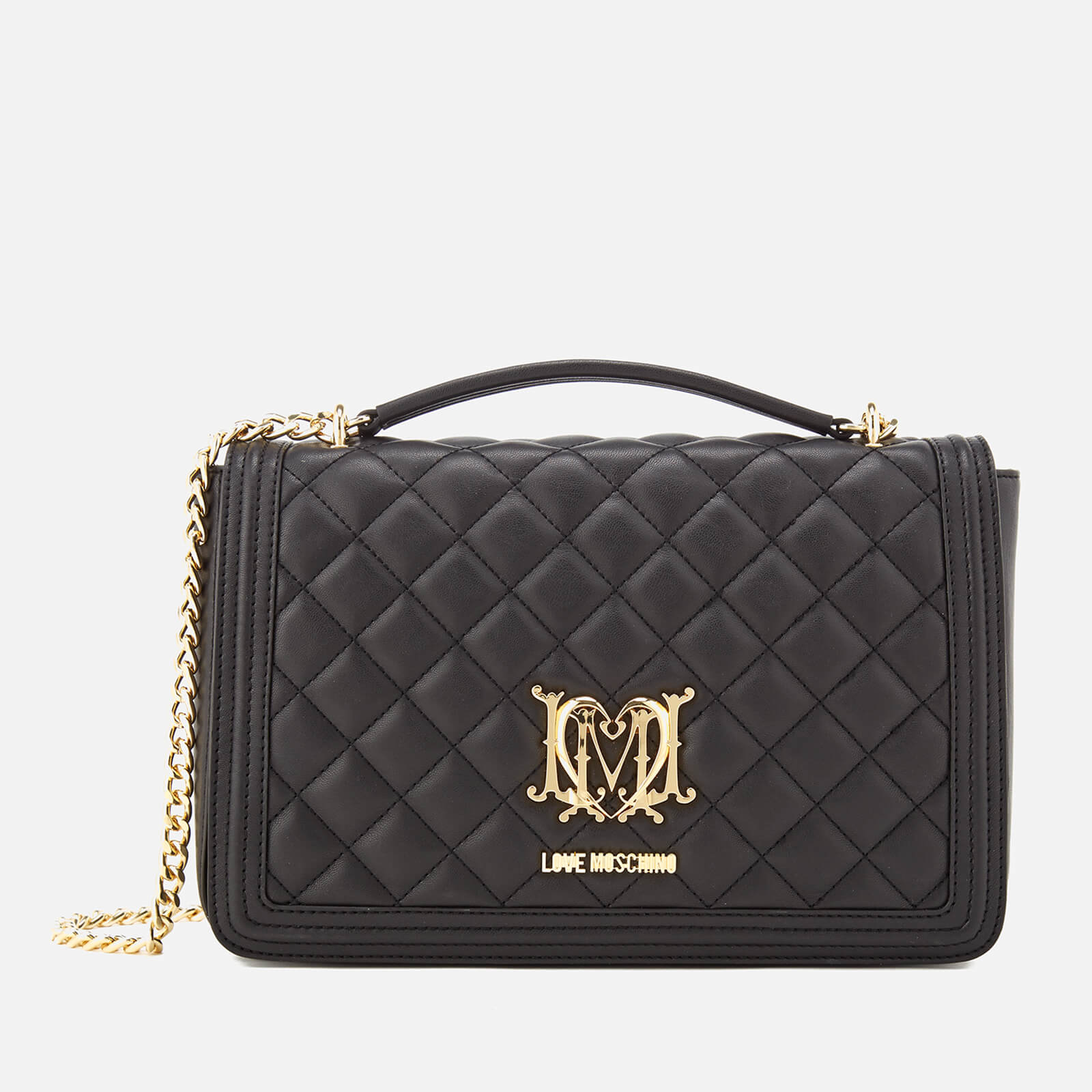 5e6a185232c Love Moschino Women's Quilted Medium Flap Shoulder Bag - Black - Free UK  Delivery over £50