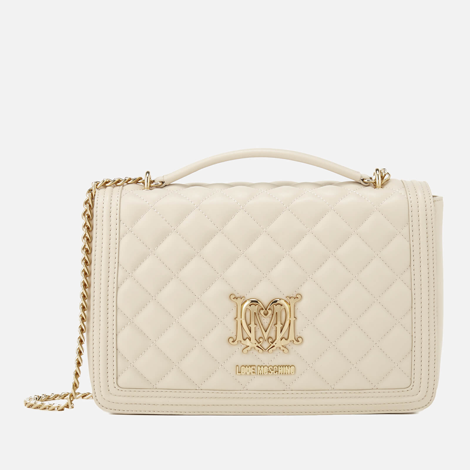 4ff143e43b77 Love Moschino Women s Quilted Medium Flap Shoulder Bag - Ivory ...