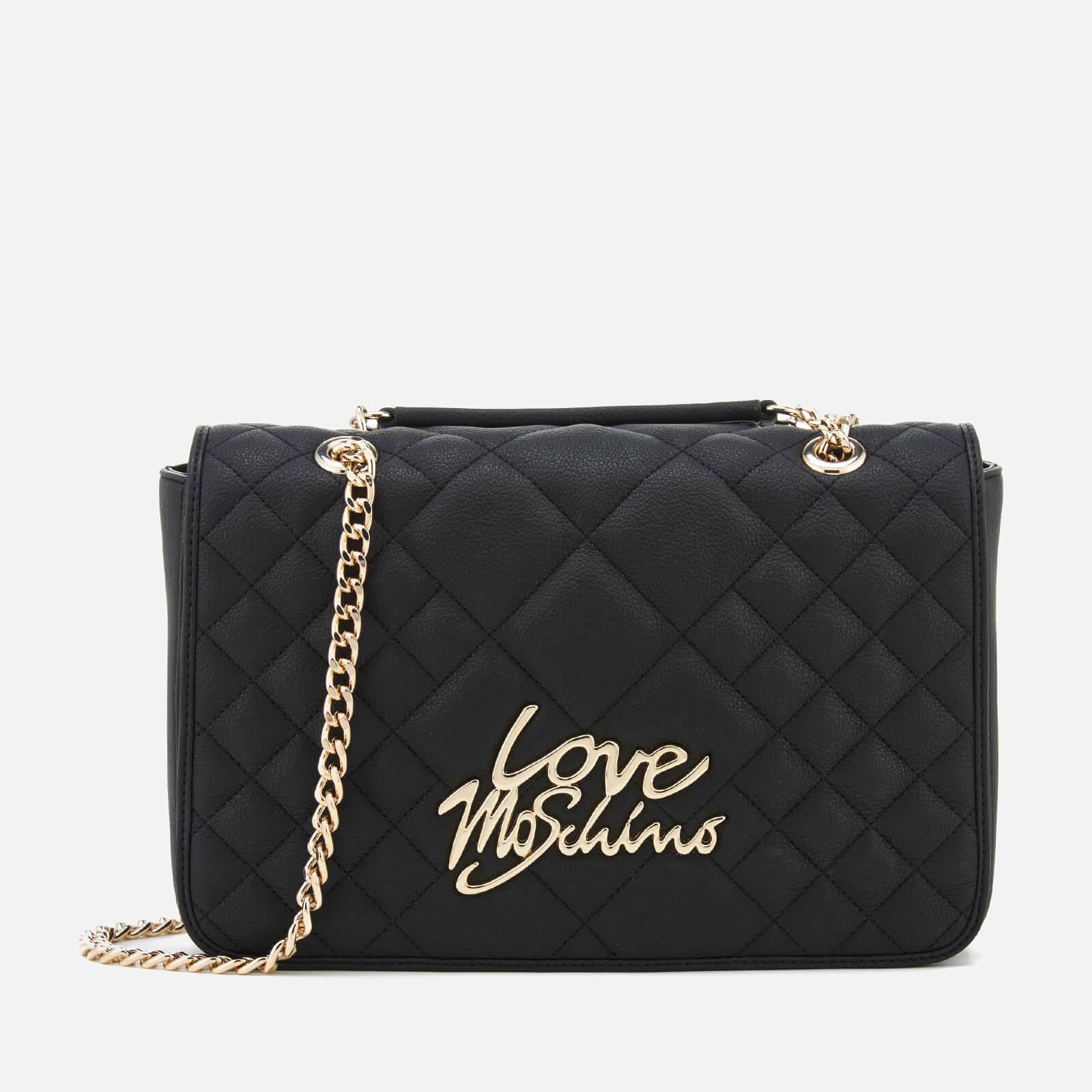adf115d54d Love Moschino Women s Matt Quilted Flap Shoulder Bag - Black - Free ...