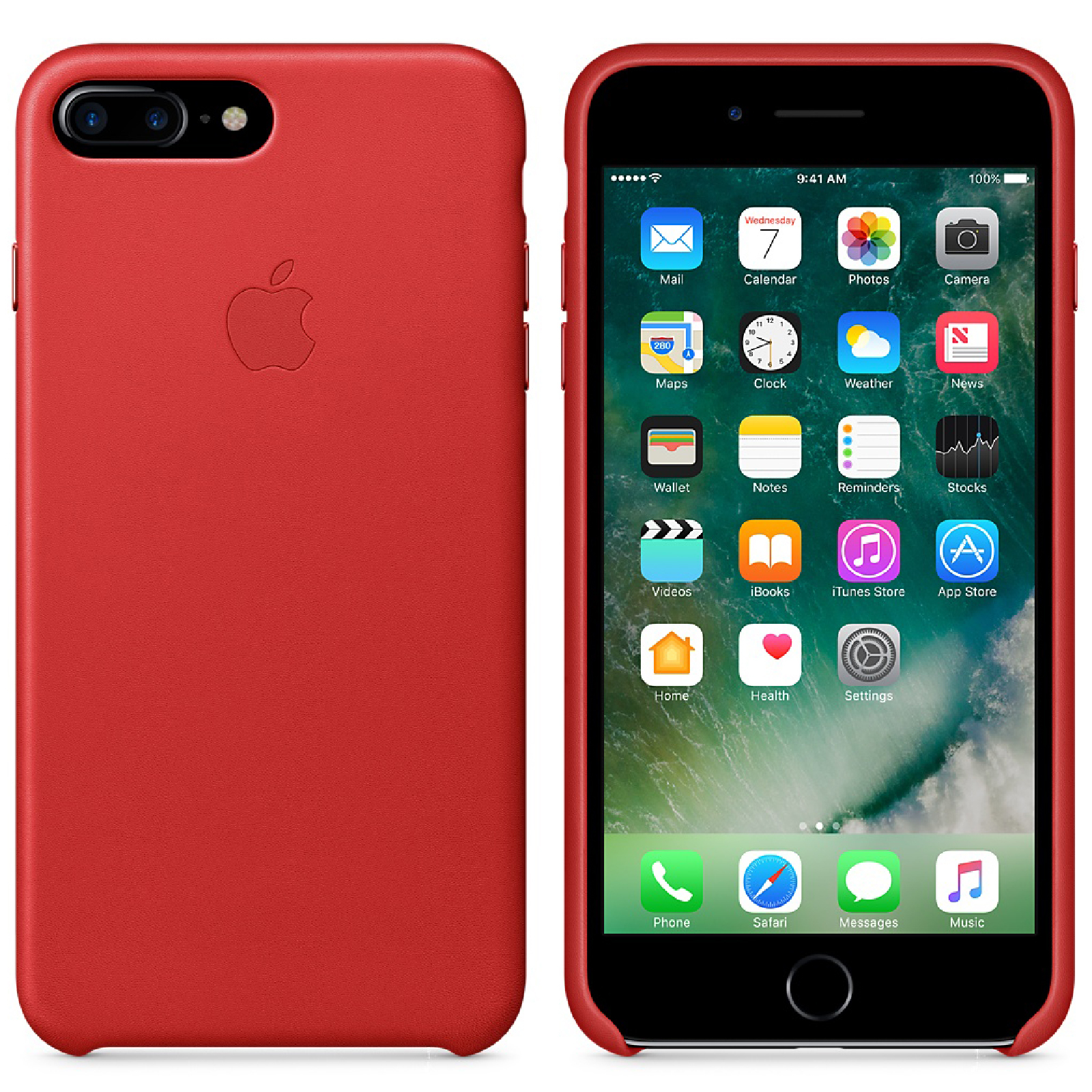 Apple iPhone 7 Plus Leather Case - Red